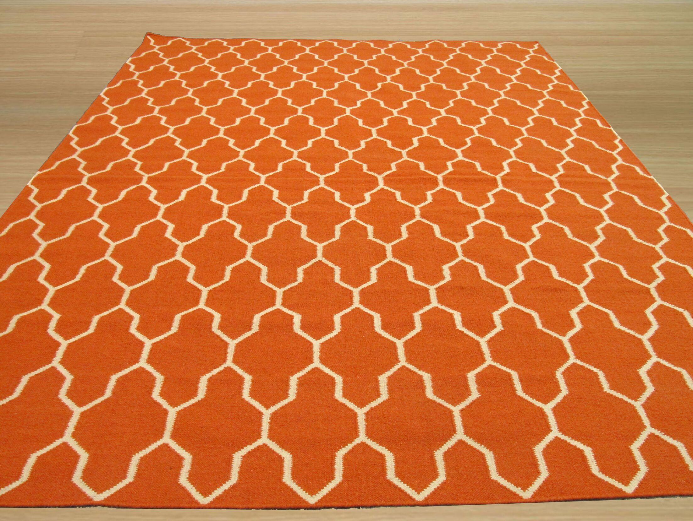 Hand-Woven Orange/Ivory Wool Area Rug Rug Size: Rectangle 5'6
