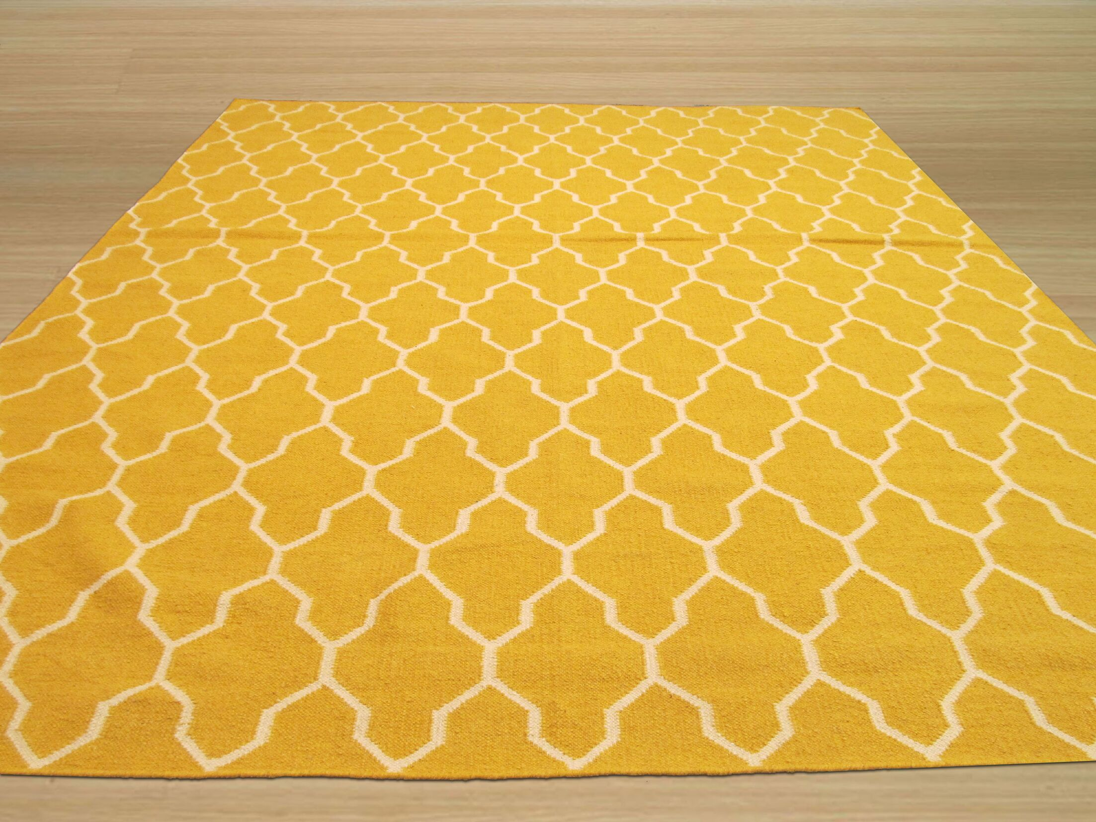 Hand Knotted Yellow/Ivory Area Rug Rug Size: Rectangle 9' x 12'