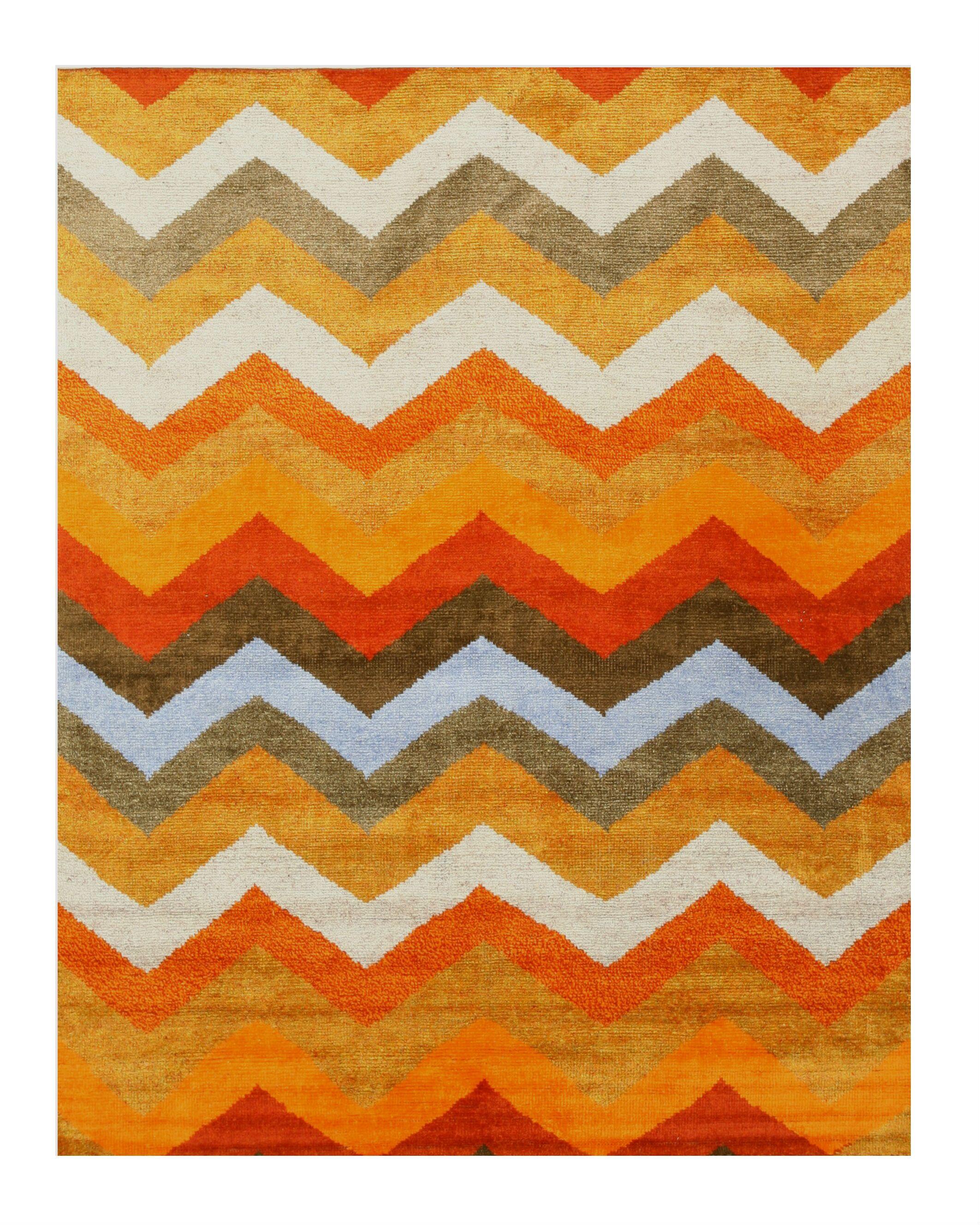 Chevron Hand-Knotted Orange Area Rug Rug Size: 8' x 10'