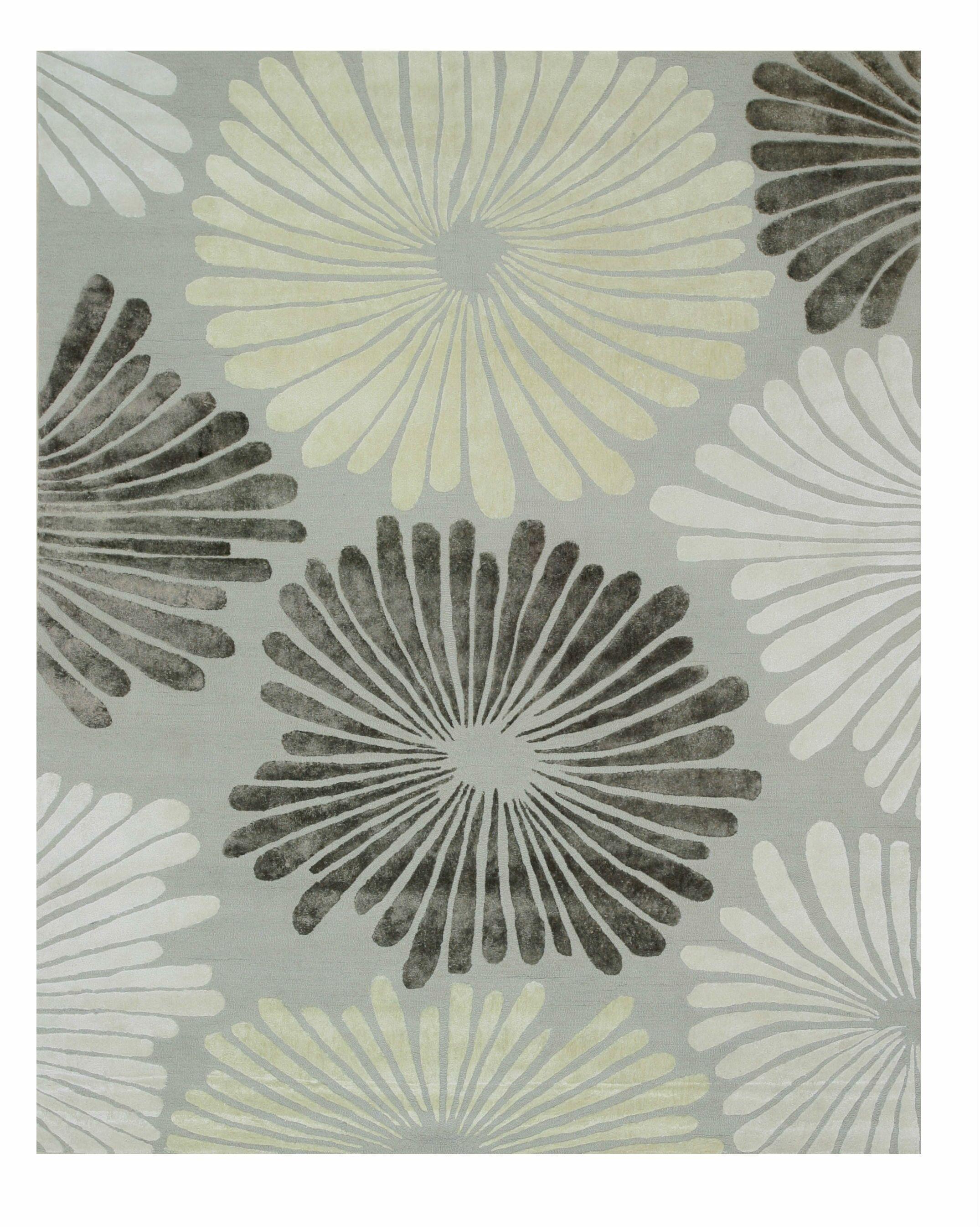 Sunflower Hand-Tufted Gray Area Rug Rug Size: 9' x 12'