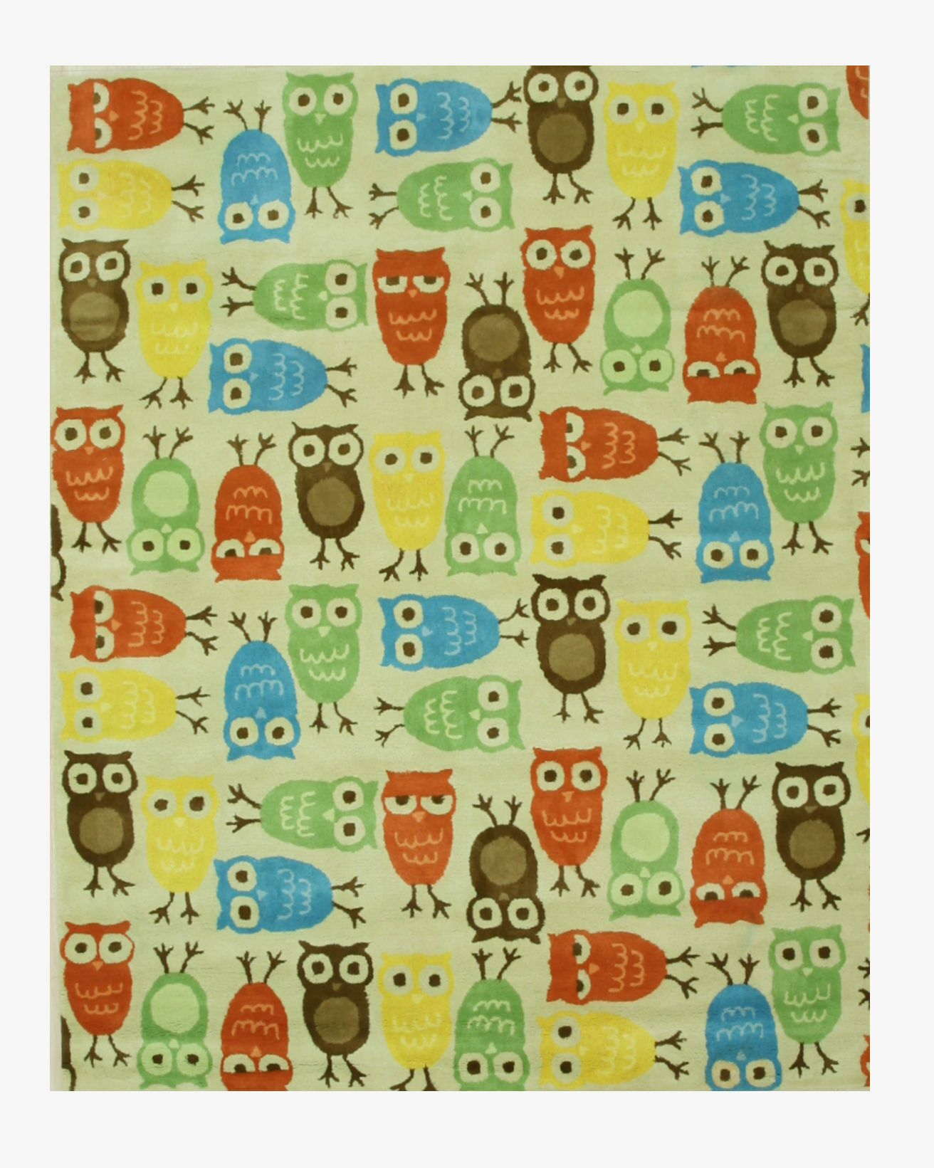 Hand-Tufted Beige/Blue/Green Kids Area Rug Rug Size: 7'9