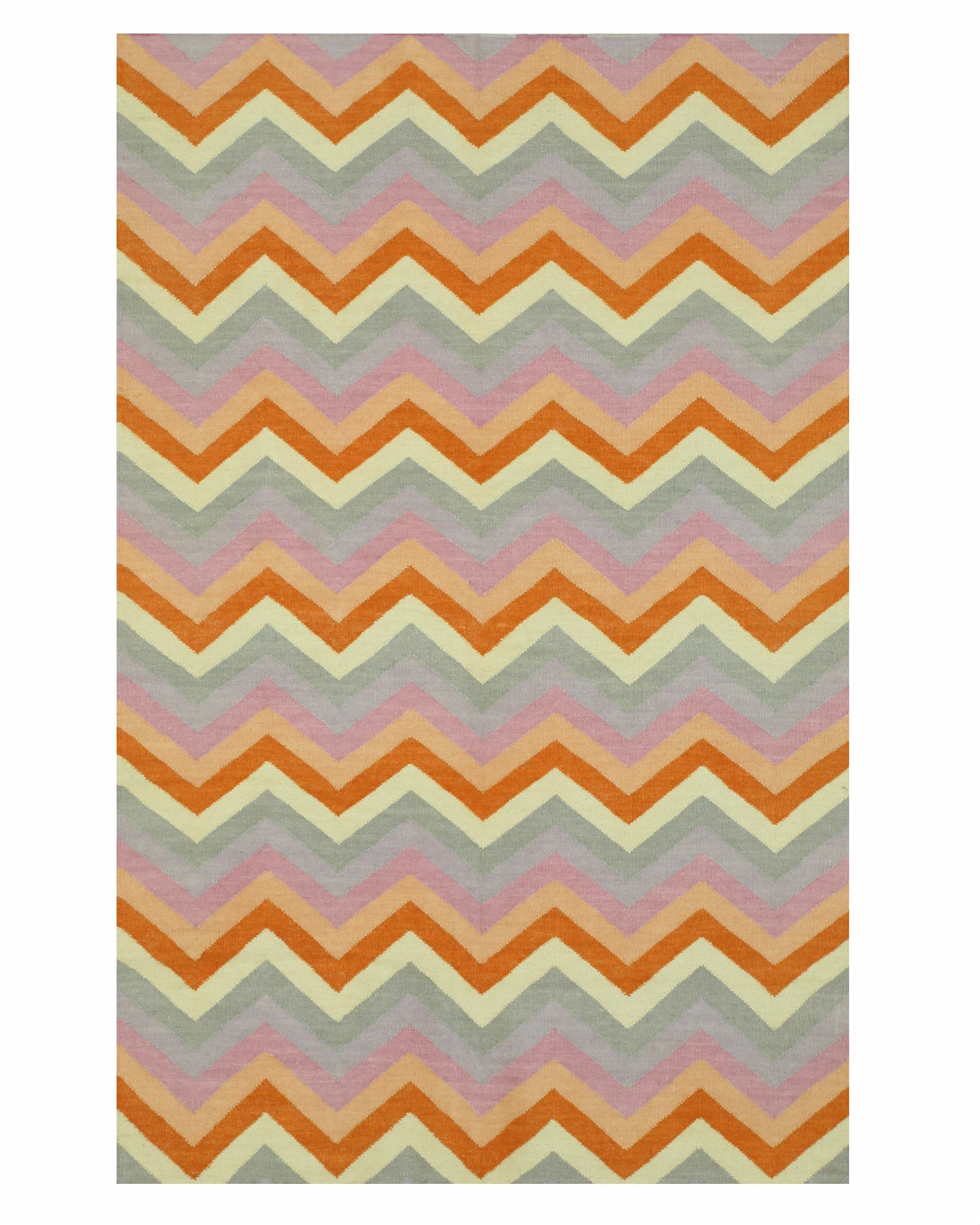 Handmade Orange/Gray Area Rug Rug Size: 10' x 14'