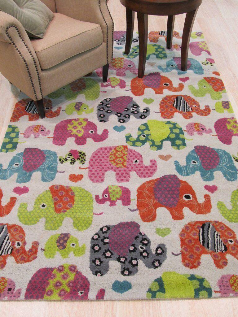 Kids Elephant Hand-Tufted Orange/Green Area Rug Rug Size: 7'9