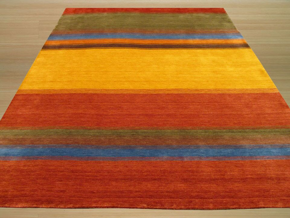 Gabbeh Hand Woven Wool Yellow/Red Area Rug Rug Size: 6' x 9'