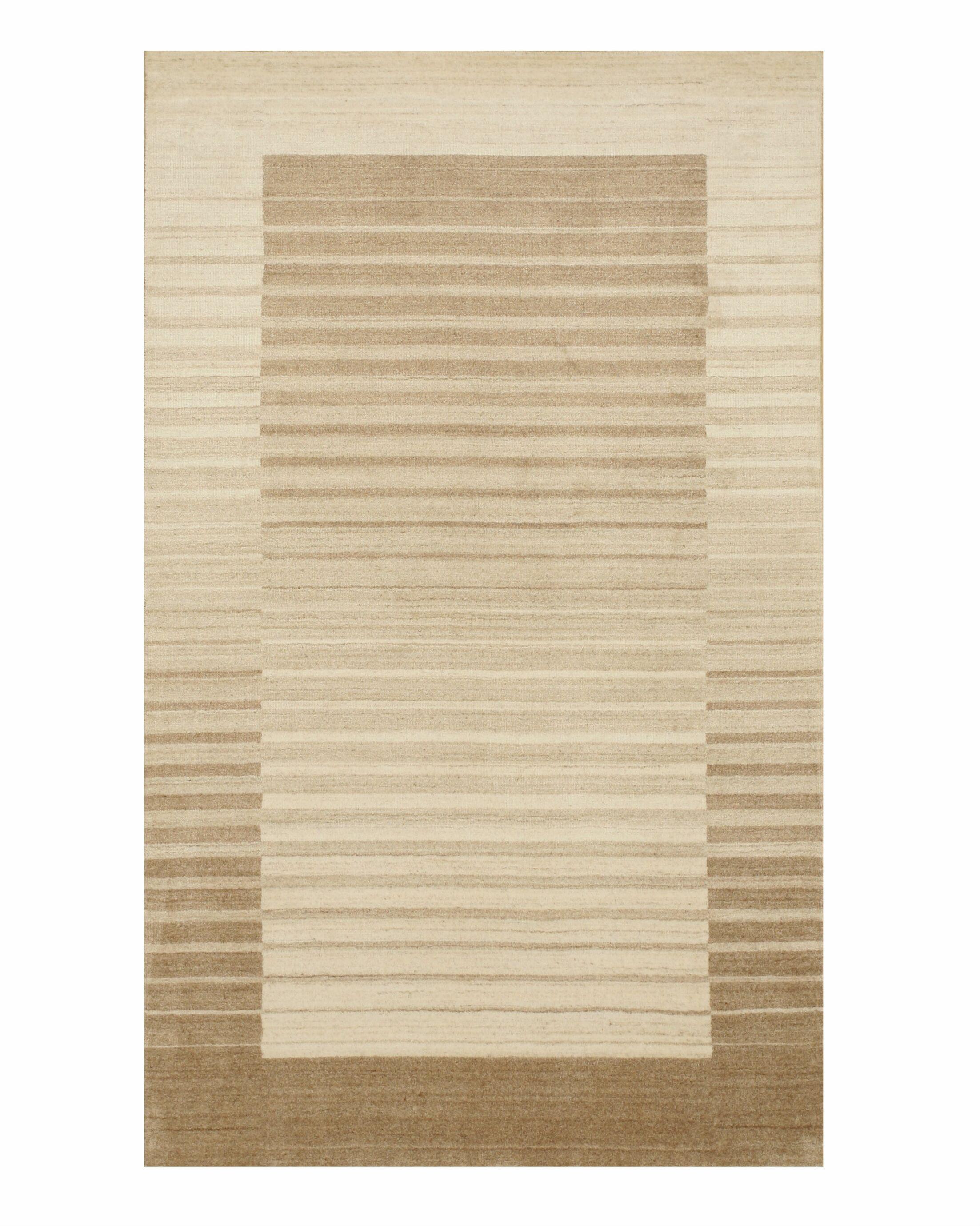 Kelbark Hand-Woven Wool Beige Area Rug Rug Size: 8' x 10'