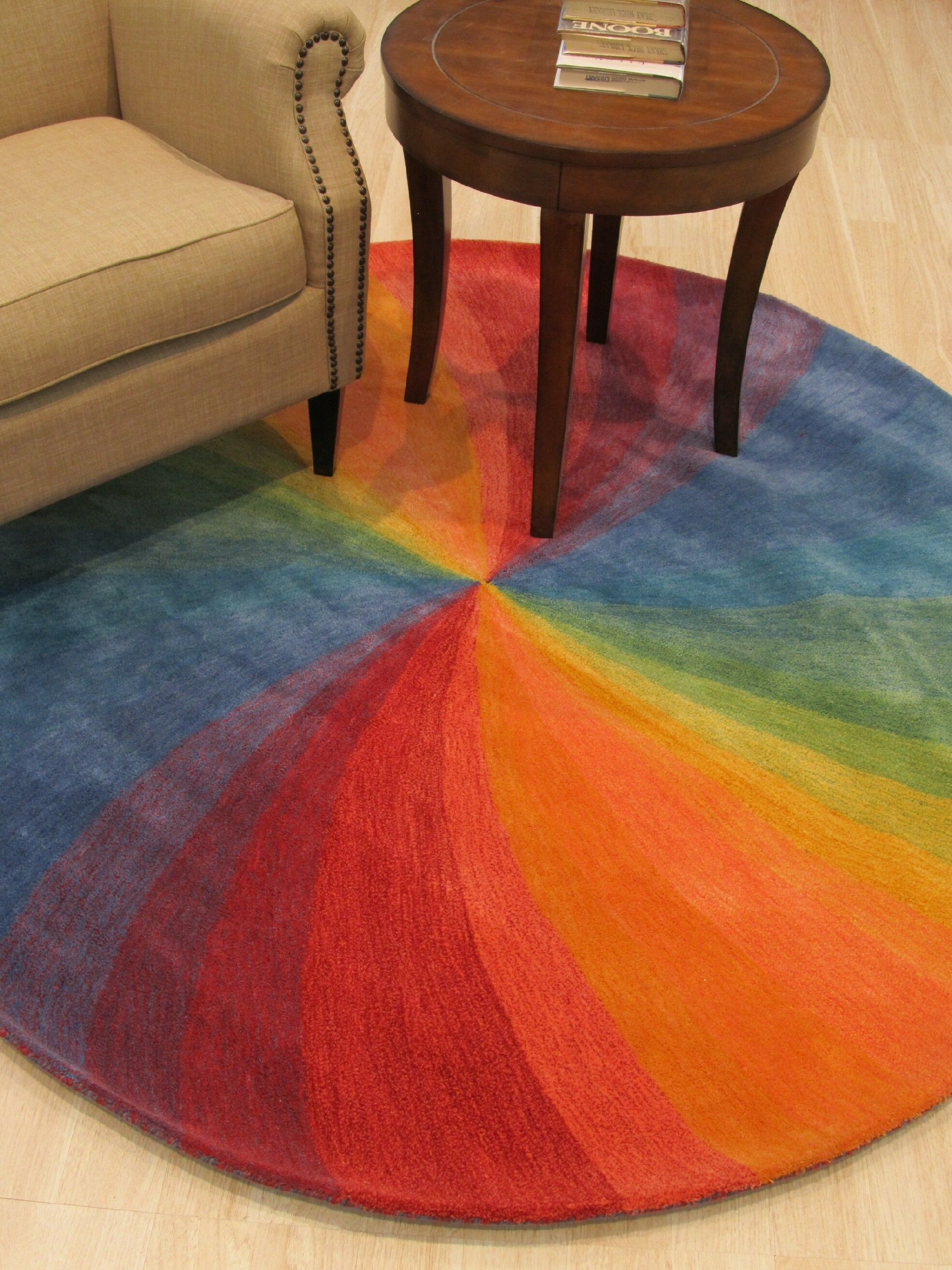Hanchett Contemporary Abstract Hand-Tufted Wool Multi-colored Area Rug Rug Size: Round 9'9