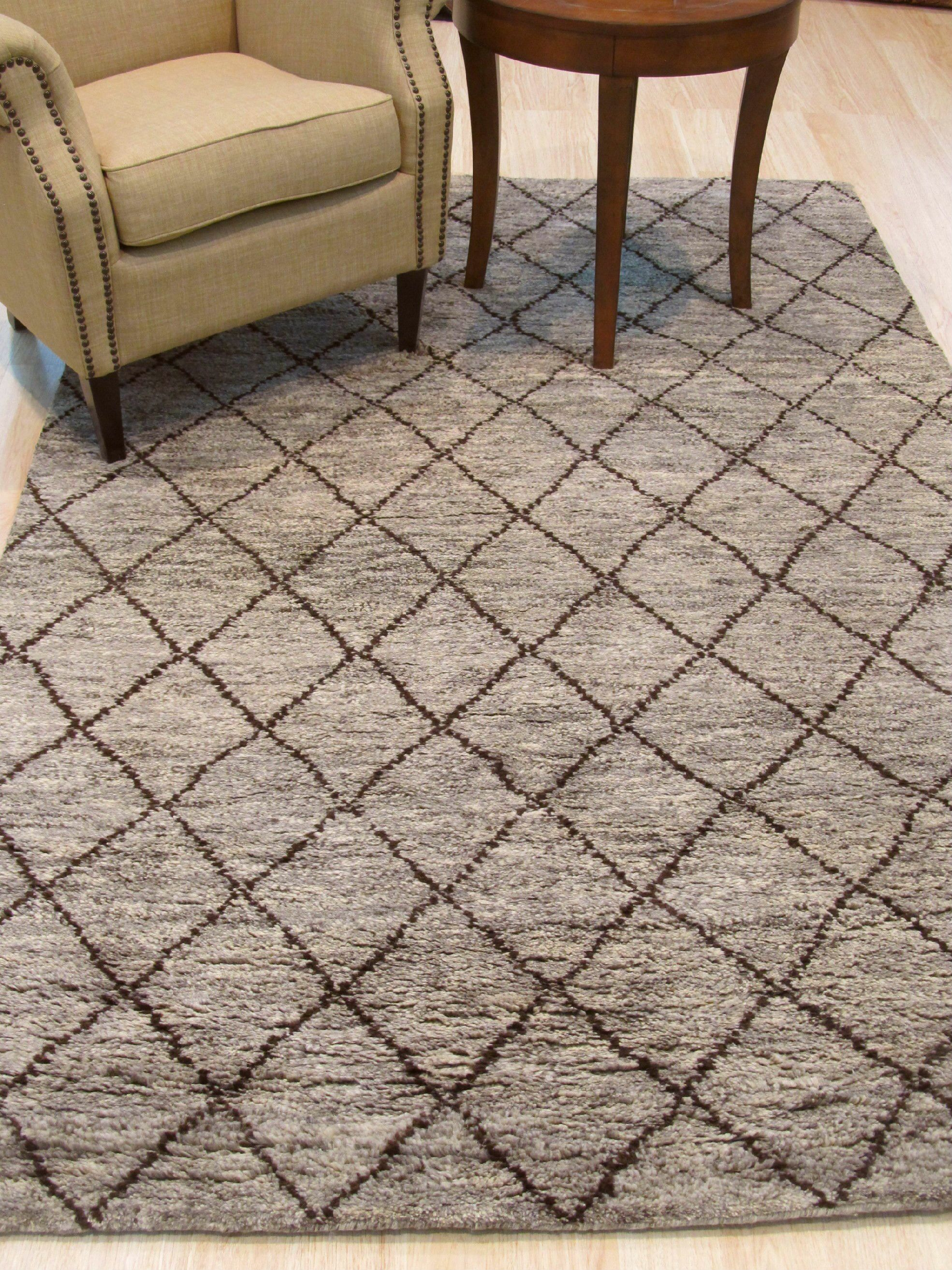 Willmon Hand-Knotted Wool Gray Area Rug Rug Size: 12' x 15'