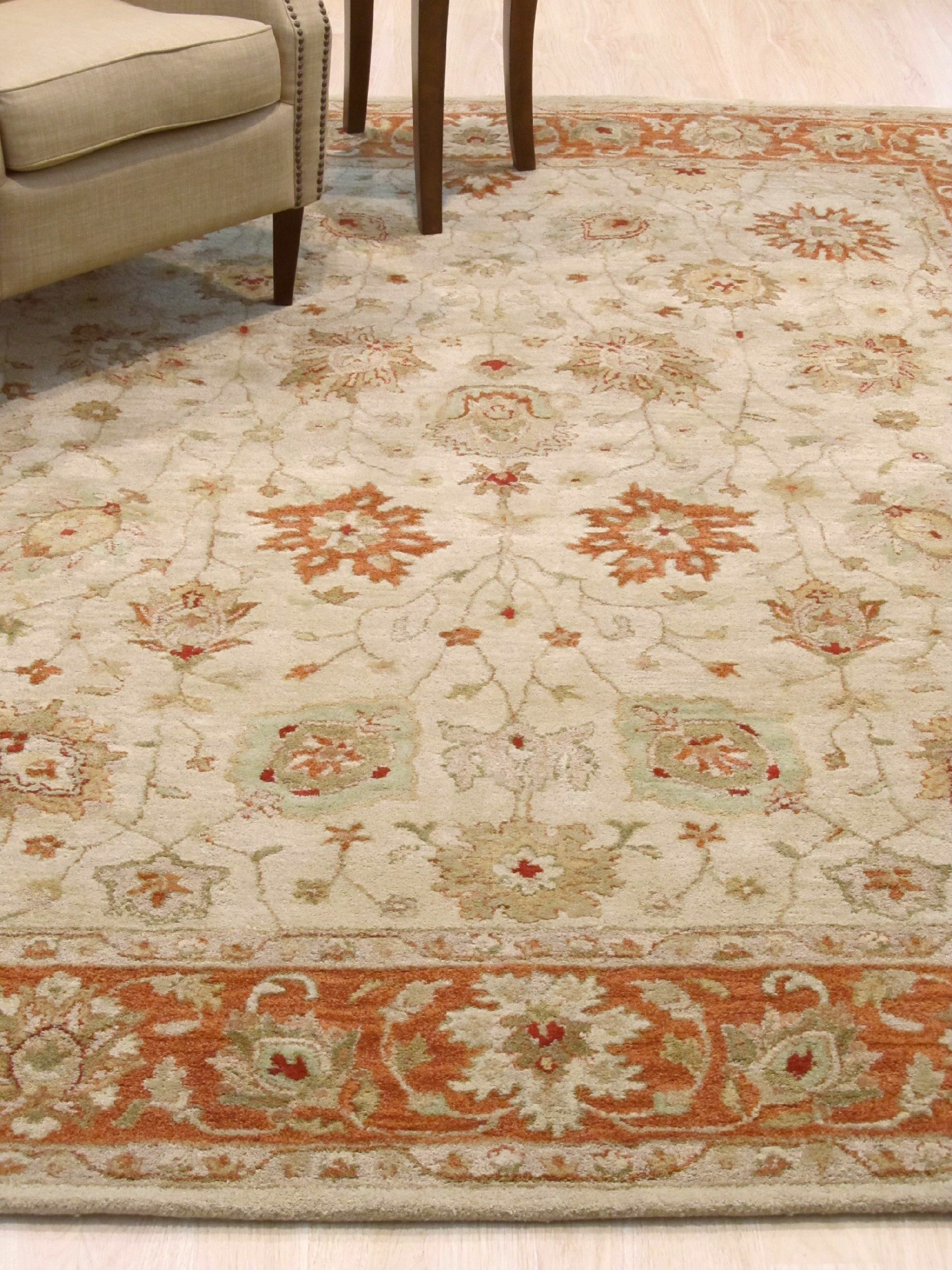 Dozier Traditional Floral Hand-Tufted Wool Beige Area Rug Rug Size: Rectangle 8' x 10'