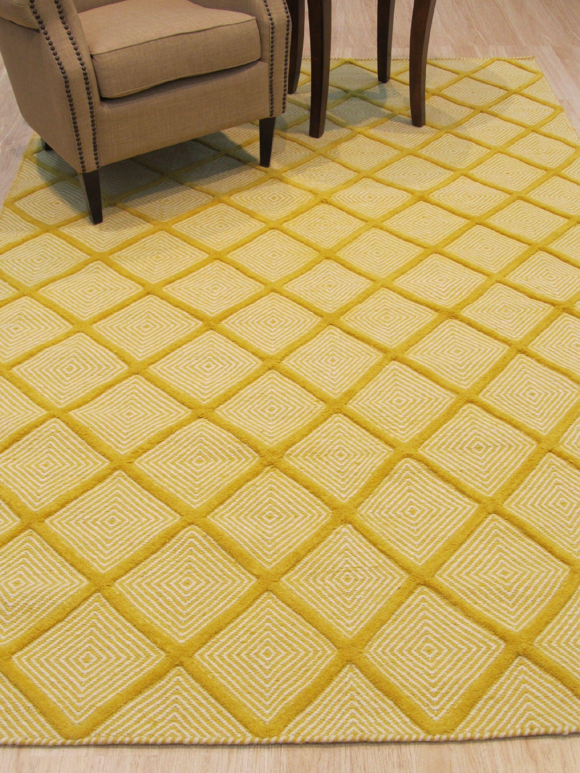 Willman Hand-Woven Wool Yellow Area Rug Rug Size: 8' x 10'