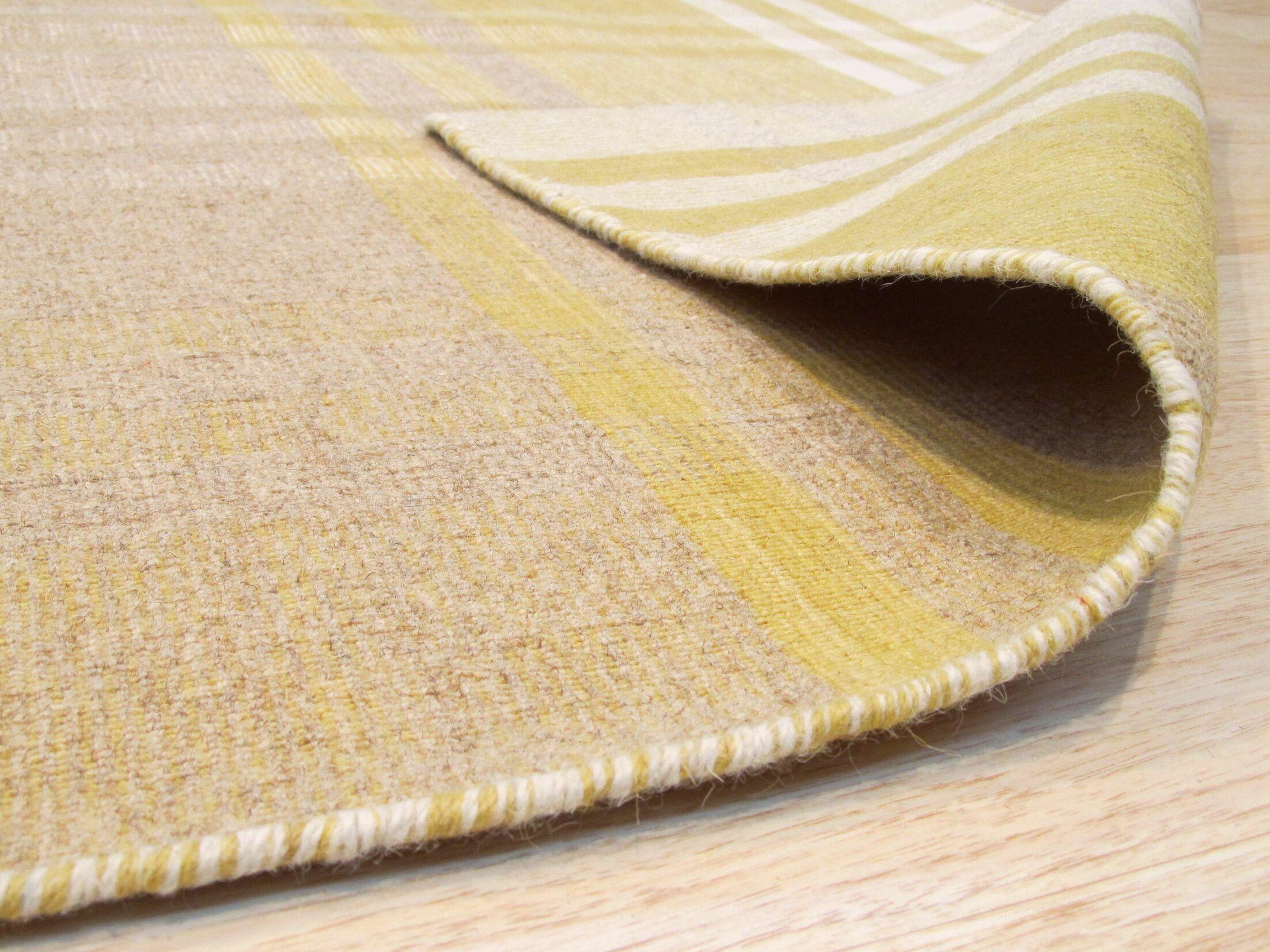Chelton Hand-Woven Wool Yellow Area Rug Rug Size: 9' x 12'