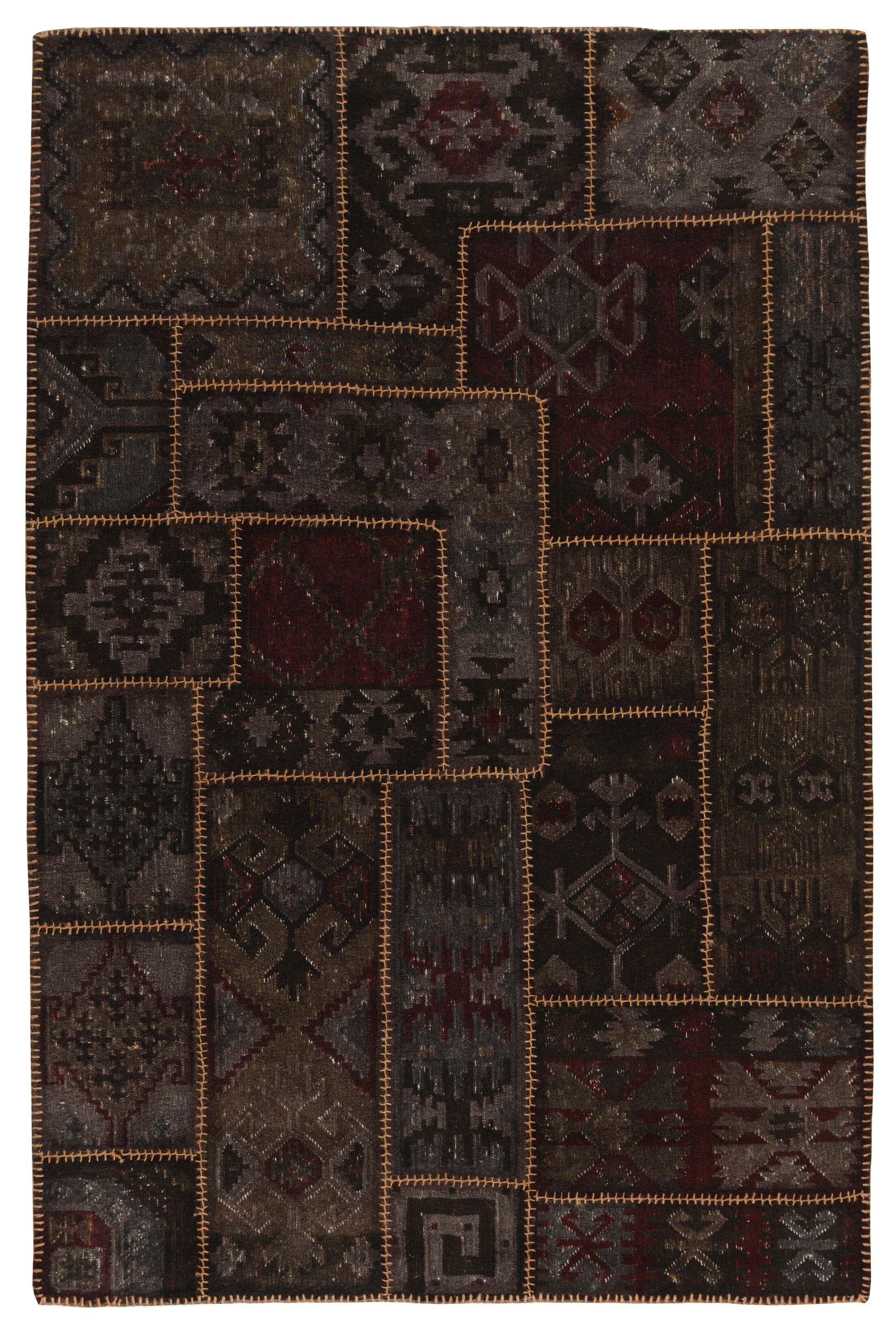 Lavaggio Coffee Patchwork Rug Rug Size: 9' x 12'