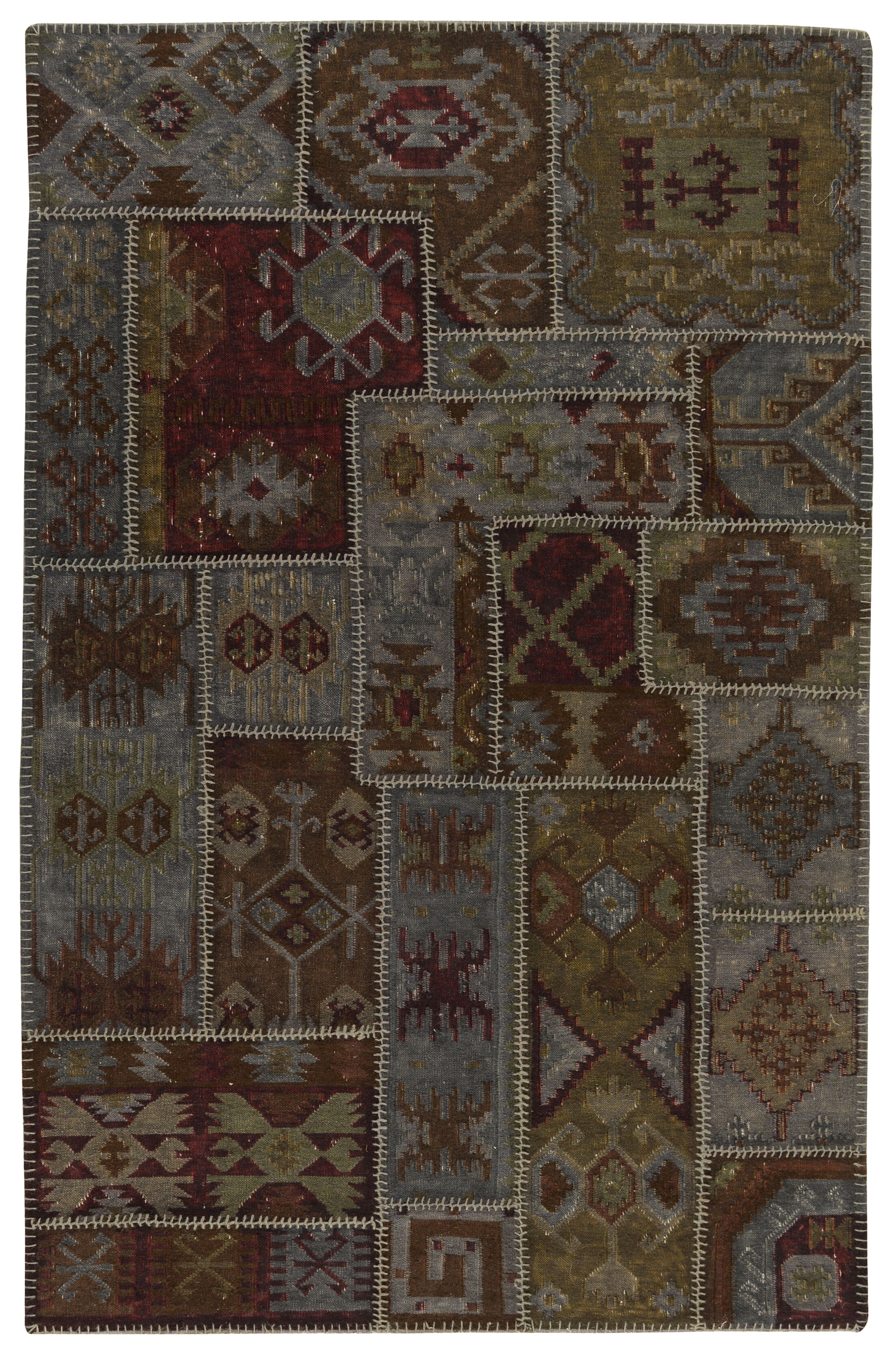 Lavaggio Charcoal Patchwork Rug Rug Size: 5' x 8'