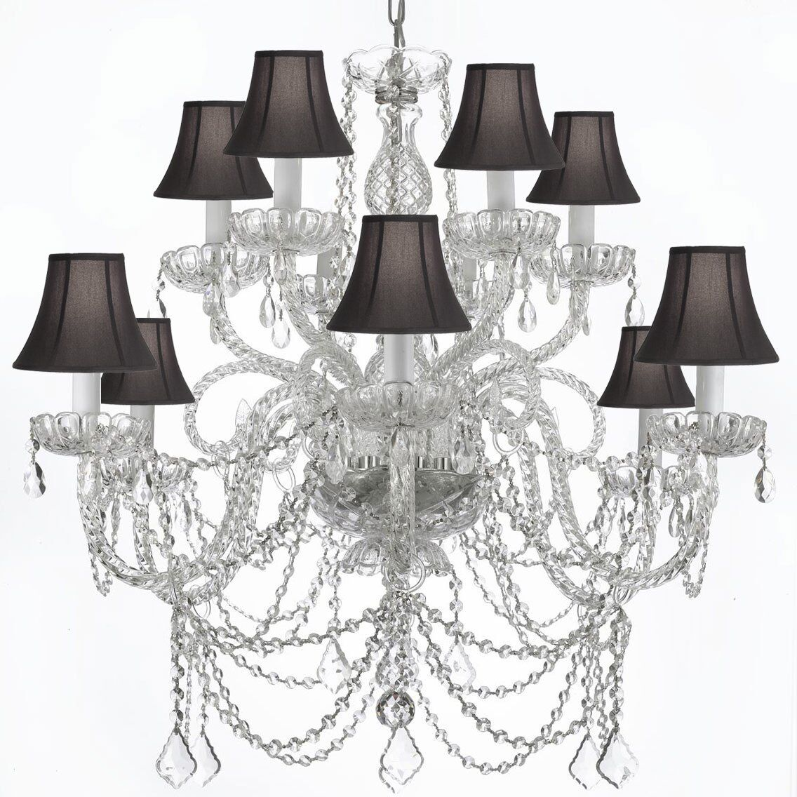 Bowey 12-Light Black Shaded Chandelier