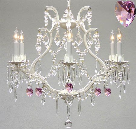Clemence 6-Light Candle Style Chandelier with Pink Hearts