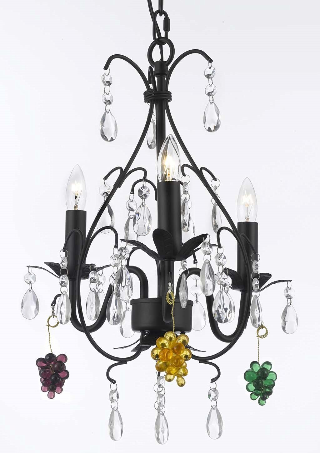 Clemence 3-Light Candle Style Chandelier Crystal Color: Green/Yellow/Purple