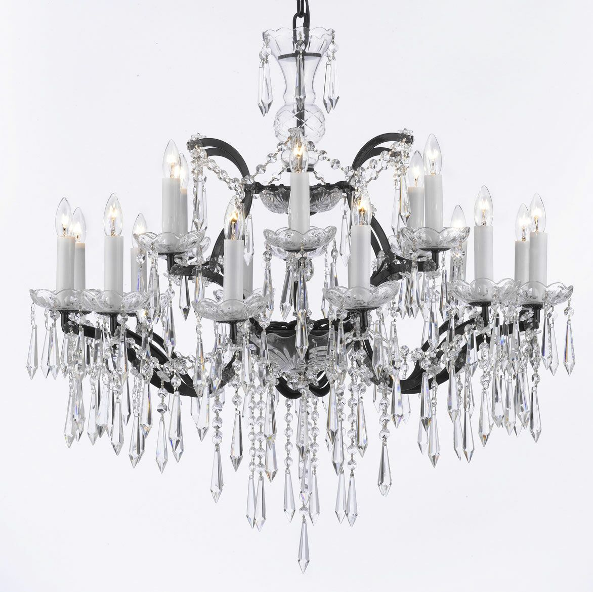 Alvan 18-Light Black Chain Candle Style Chandelier