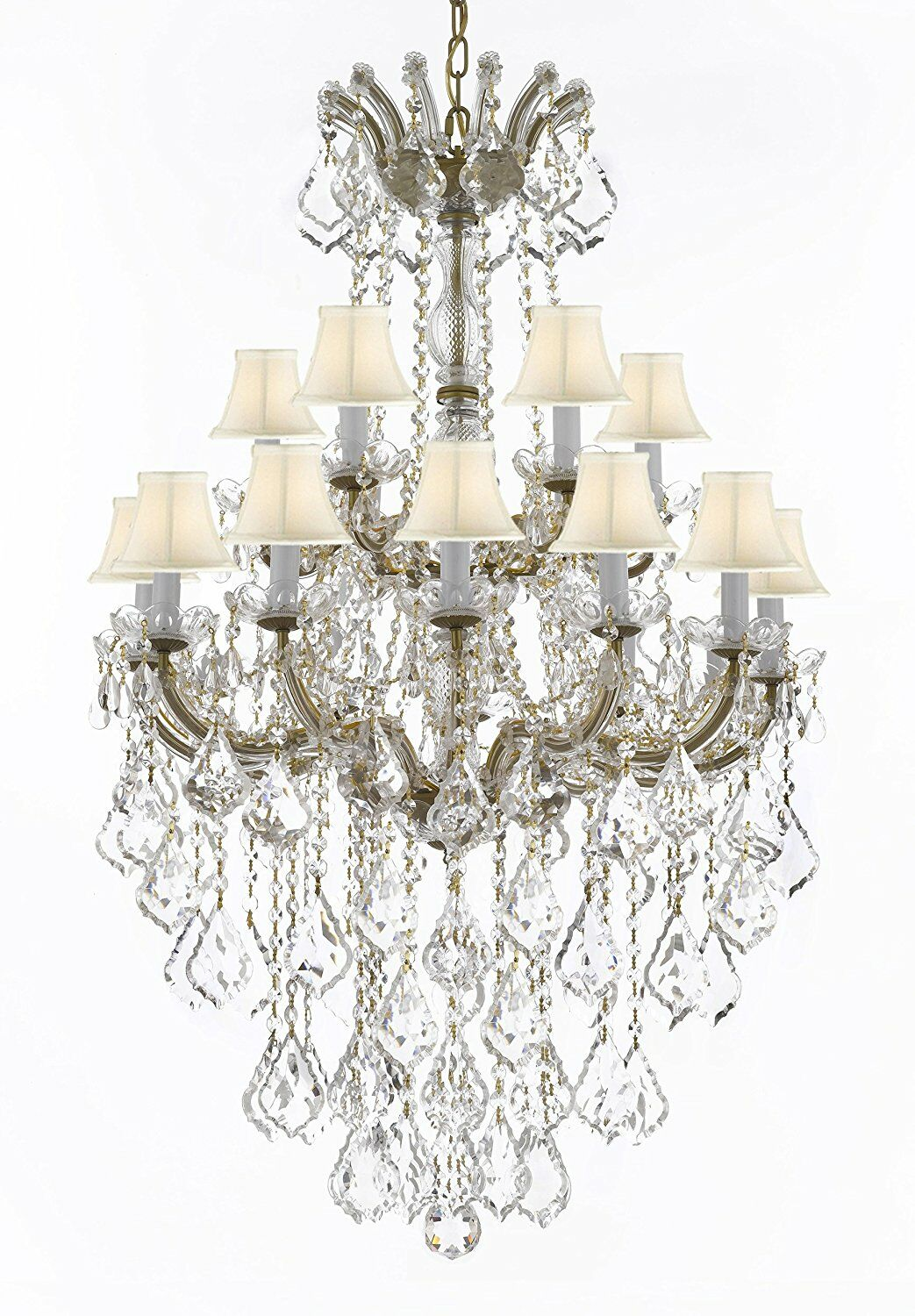 Alvarado 18-Light Bell Fabric Shade Shaded Chandelier Color: Gold, Shade Color: White