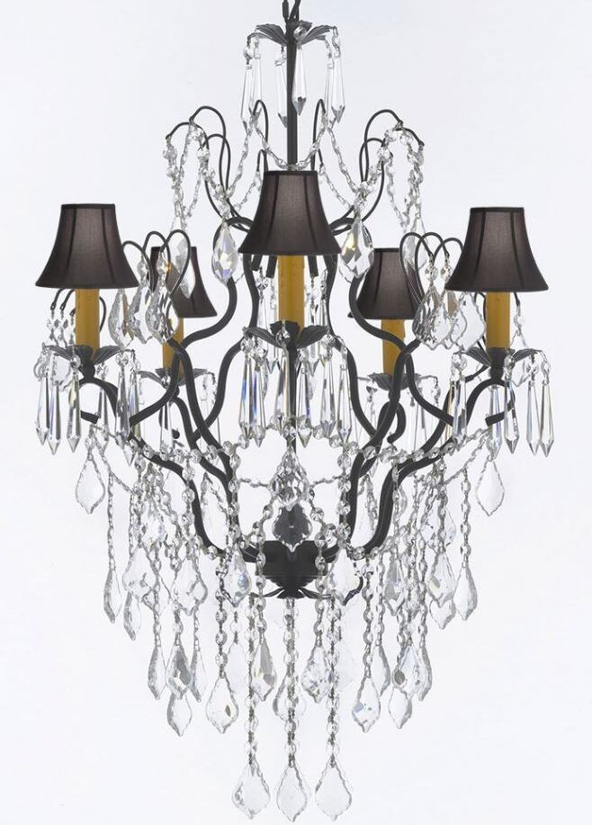 Clemence 5-Light Dome Black Shade Crystal Chandelier