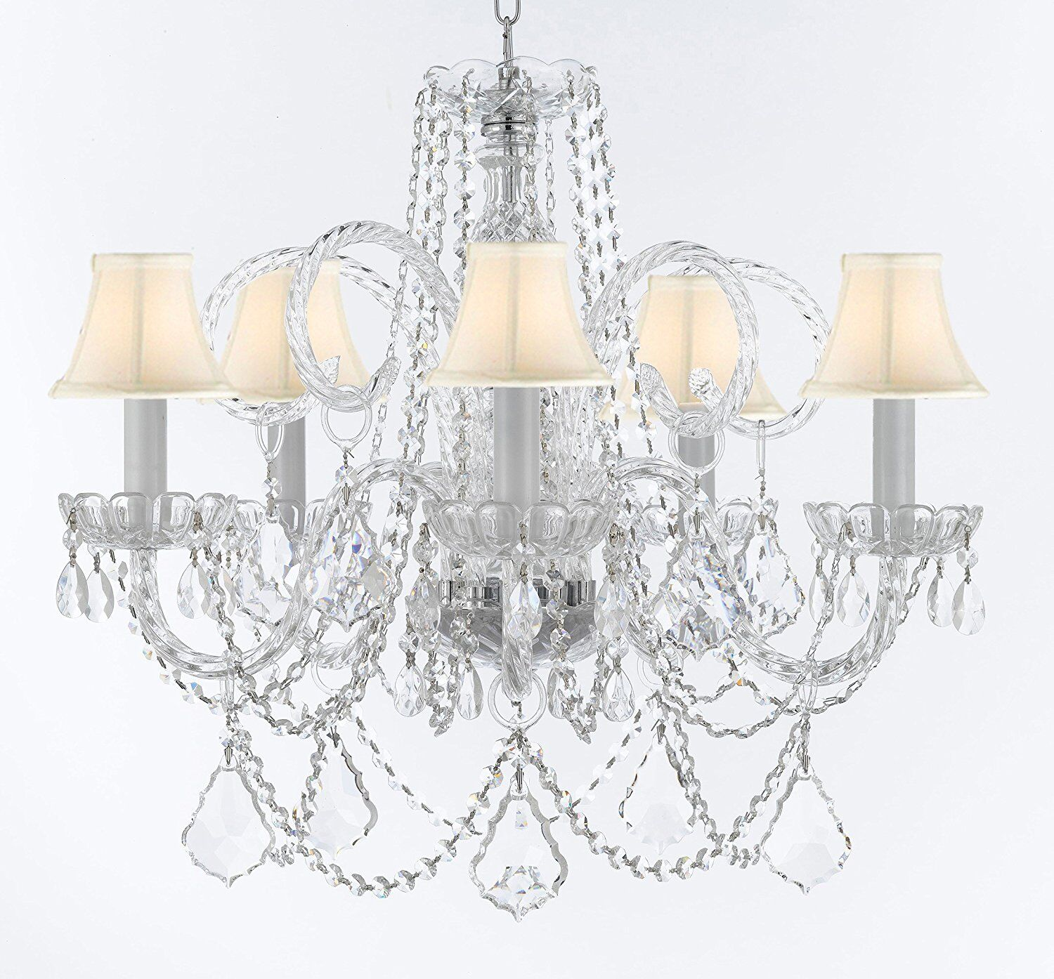Crayford 5-Light Shaded Chandelier Shade Color: White