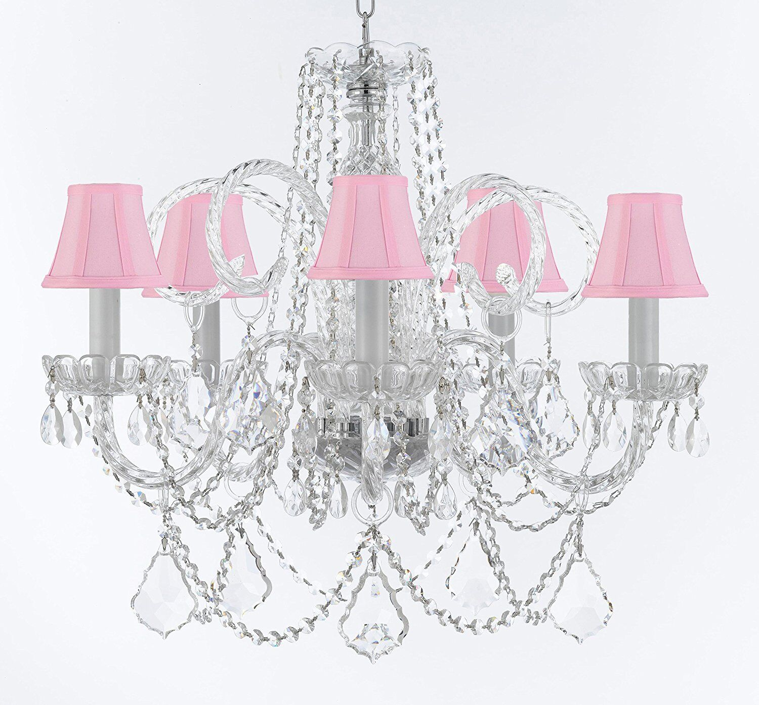 Crayford 5-Light Shaded Chandelier Shade Color: Pink