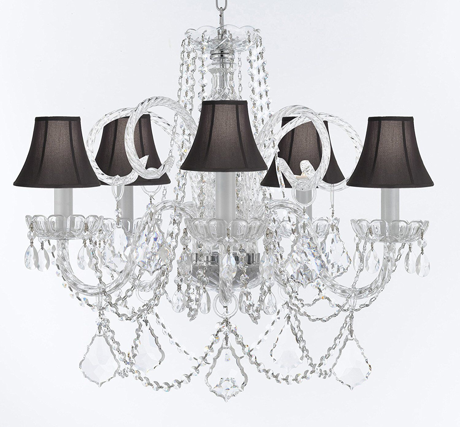 Creeves Glam 5-Light Shaded Chandelier Shade Color: Black