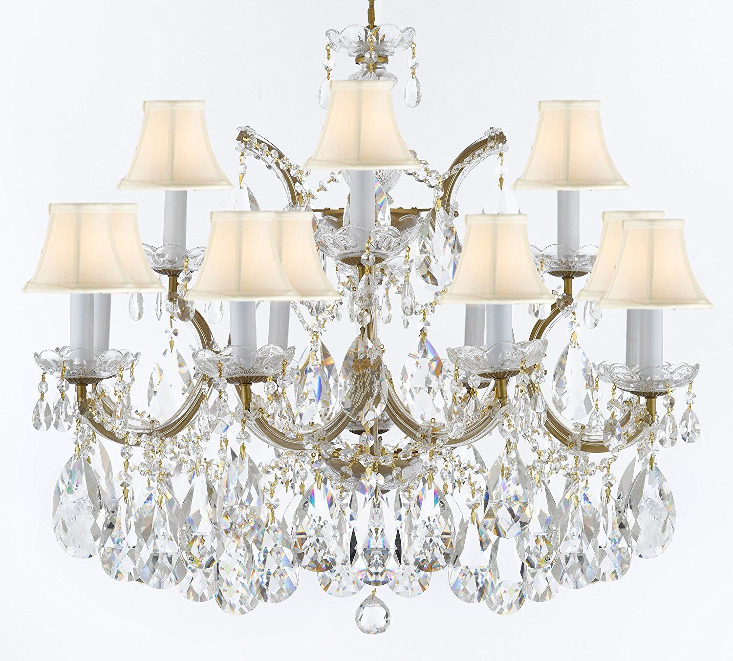 Crediton 13-Light Shaded Chandelier Finish: Gold, Shade Color: White