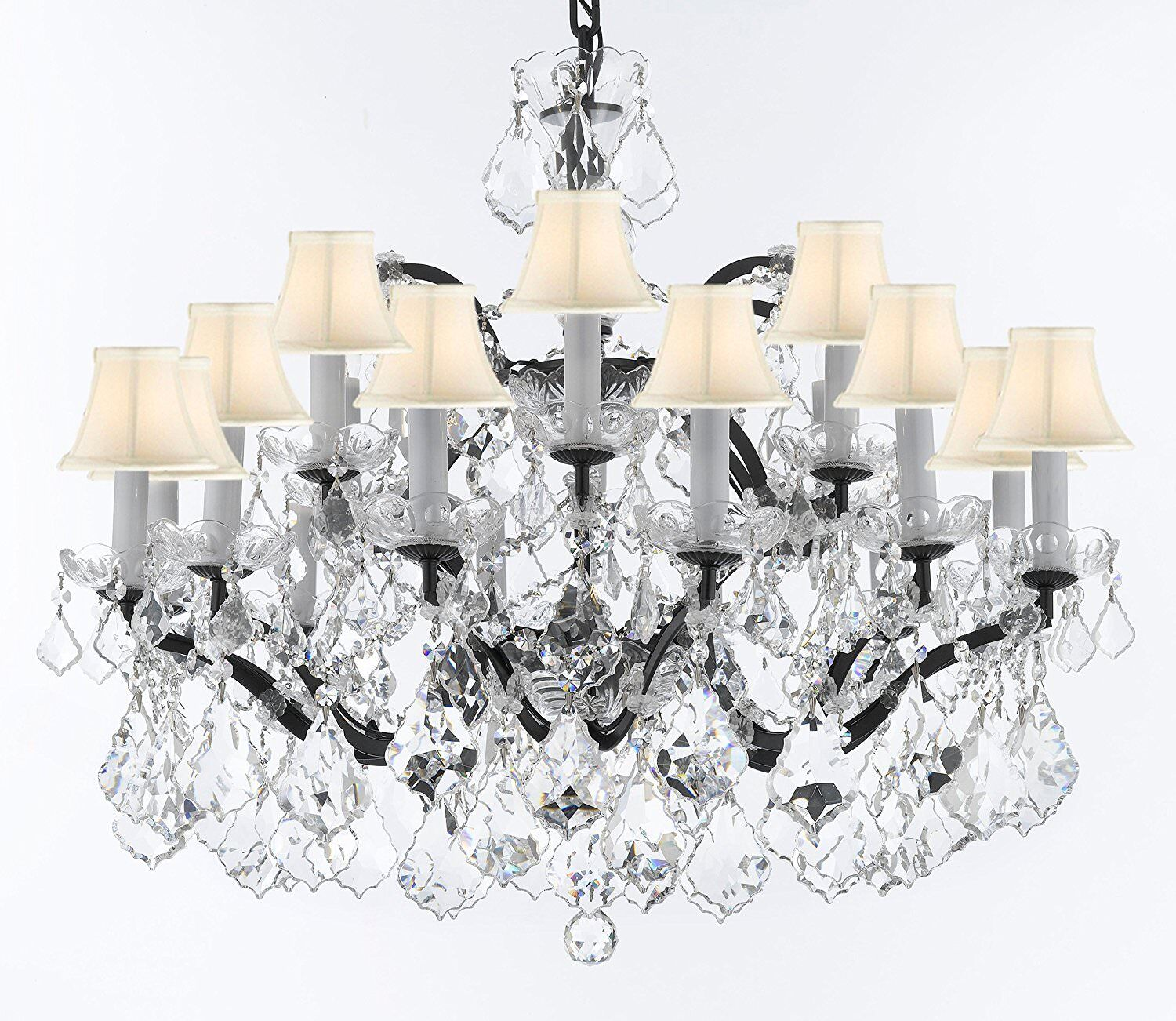 Borunda Iron 18-Light Shaded Chandelier Shade Color: White