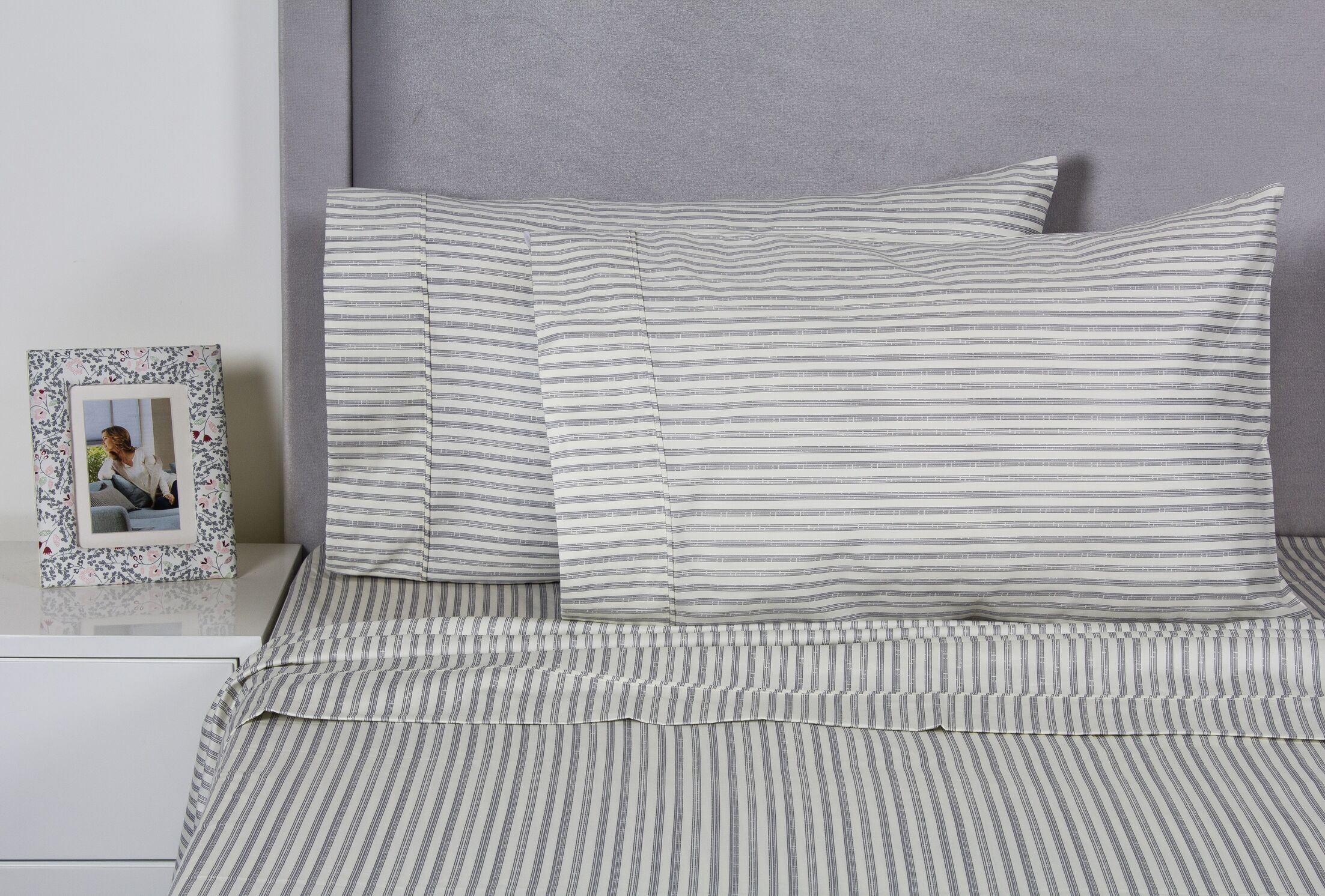 Carlson Stripe 400 Thread Count 100% Cotton Sheet Set Size: Twin, Color: Gray