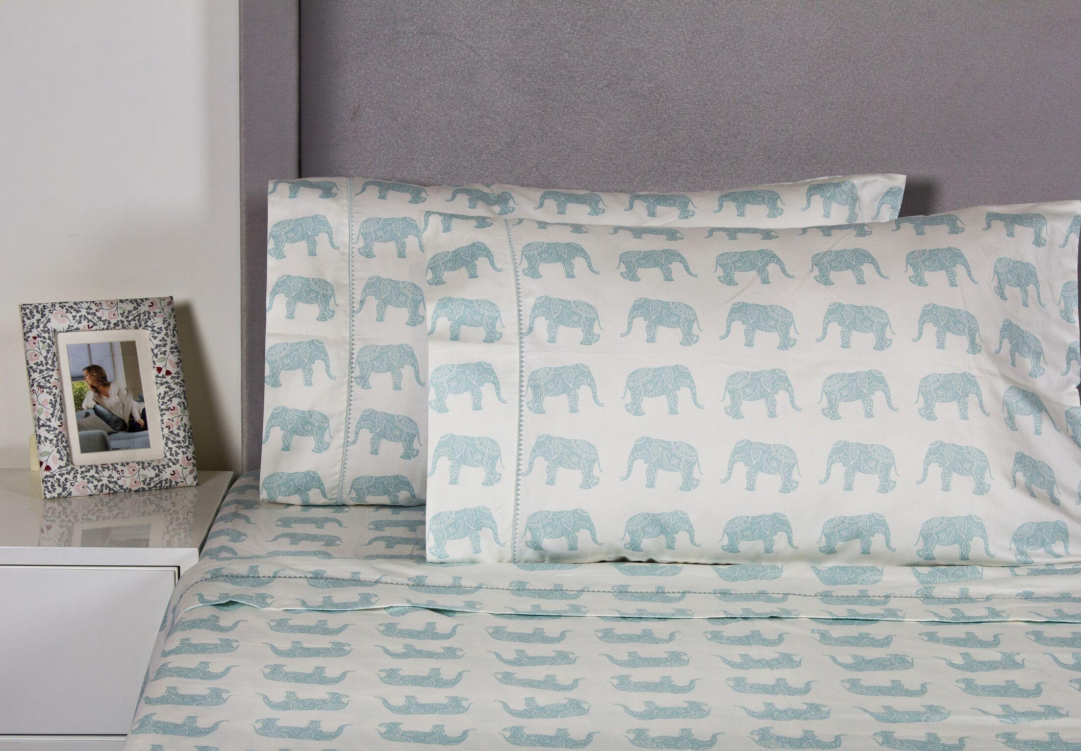 Elephant 400 Thread Count 100% Cotton Sheet Set Color: Aqua, Size: Queen