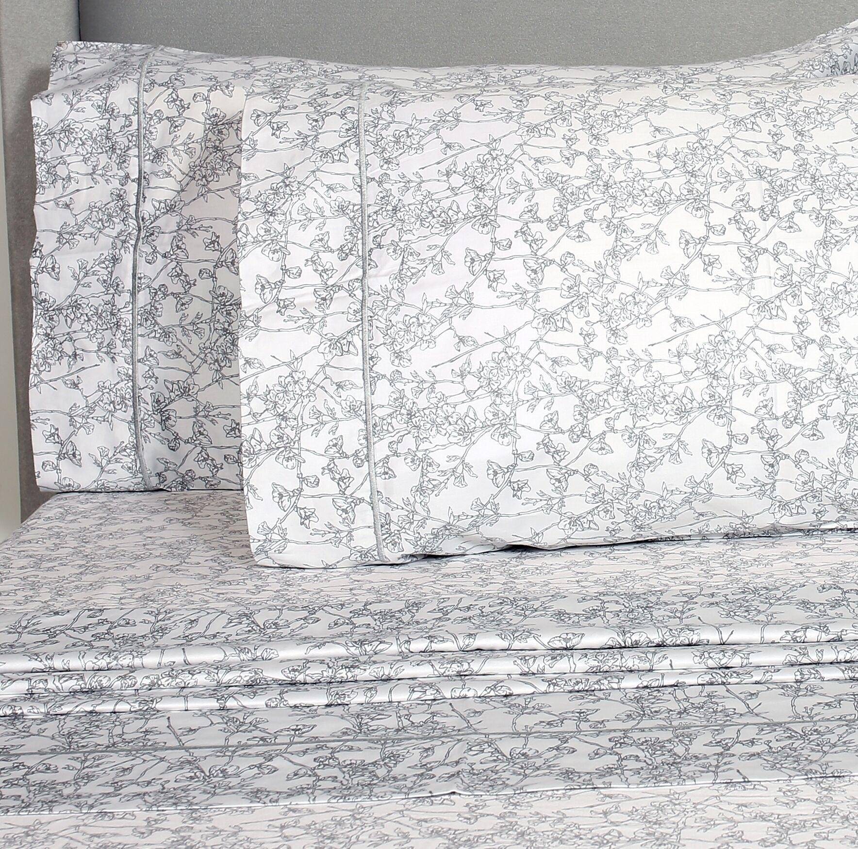 Kunze Cherry Blossoms 400 Thread Count Pillowcase Color: Gray