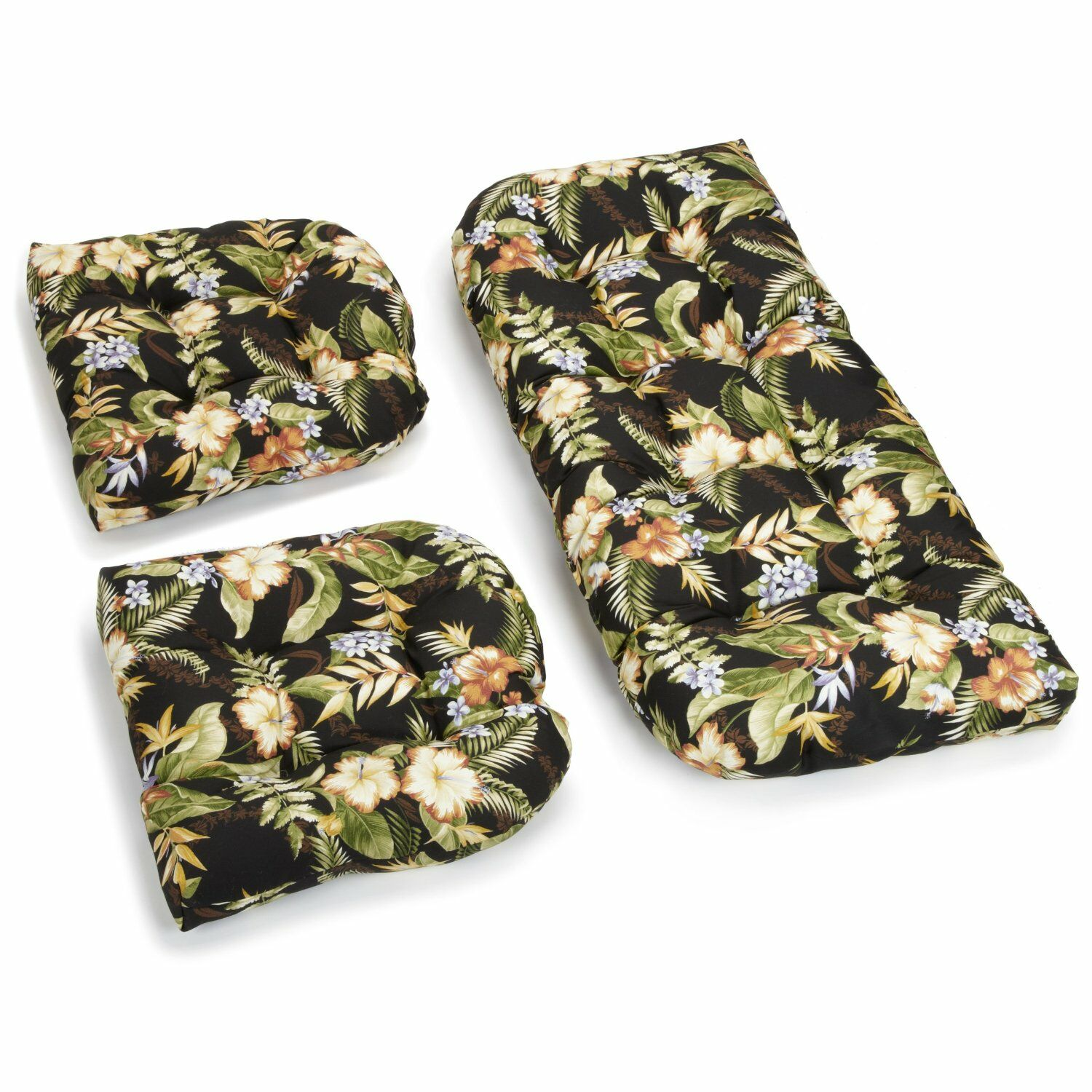 Floral Indoor/Outdoor Loveseat Cushion Fabric: Black/Green