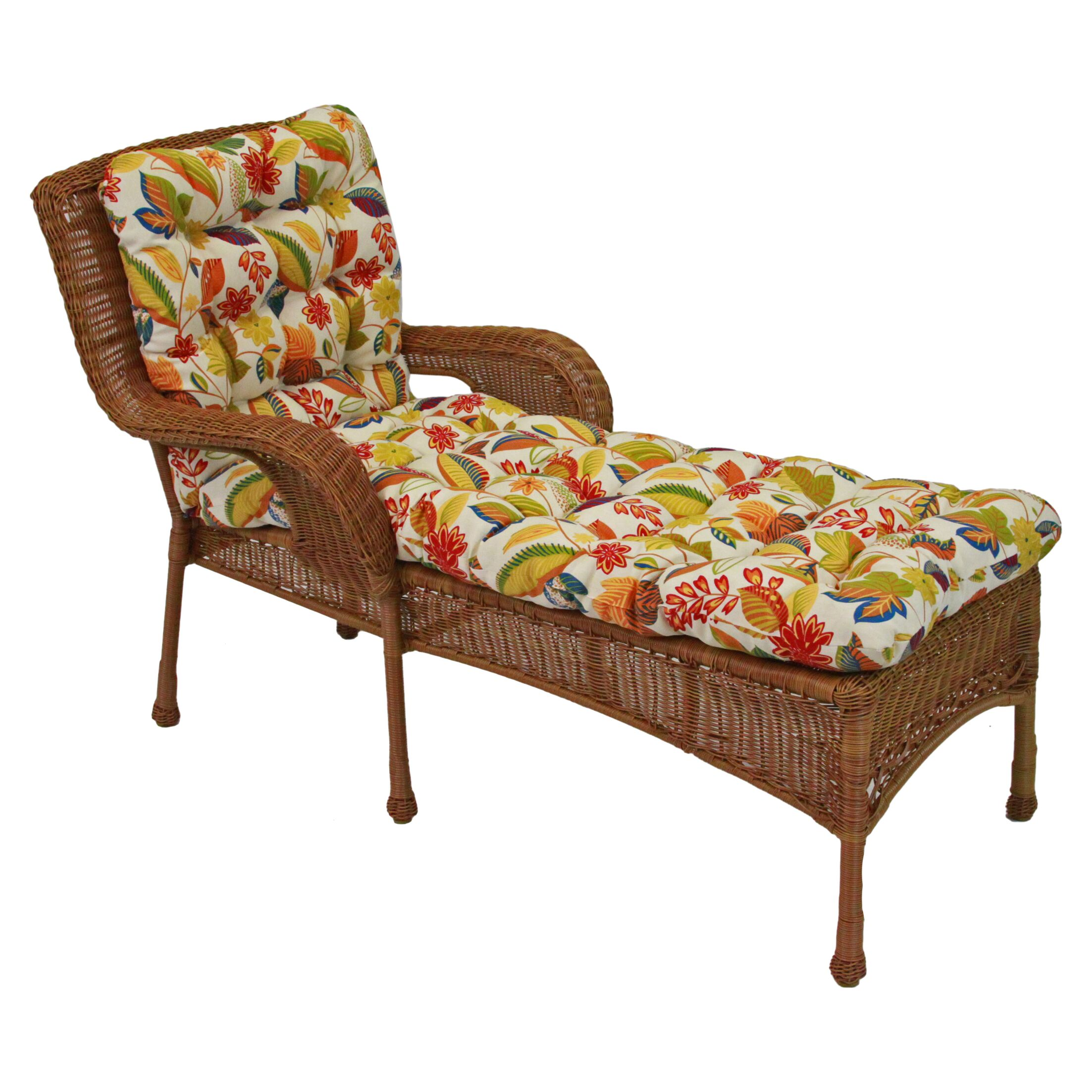 Floral Indoor/Outdoor Chaise Lounge Cushion