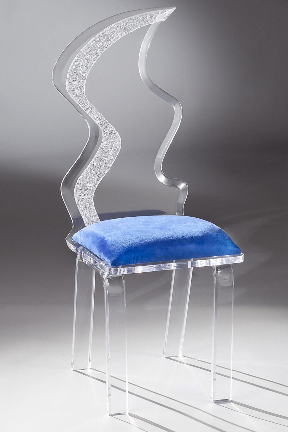 Zig Zag Acrylic Side Chair Upholstery Color: Cobalt