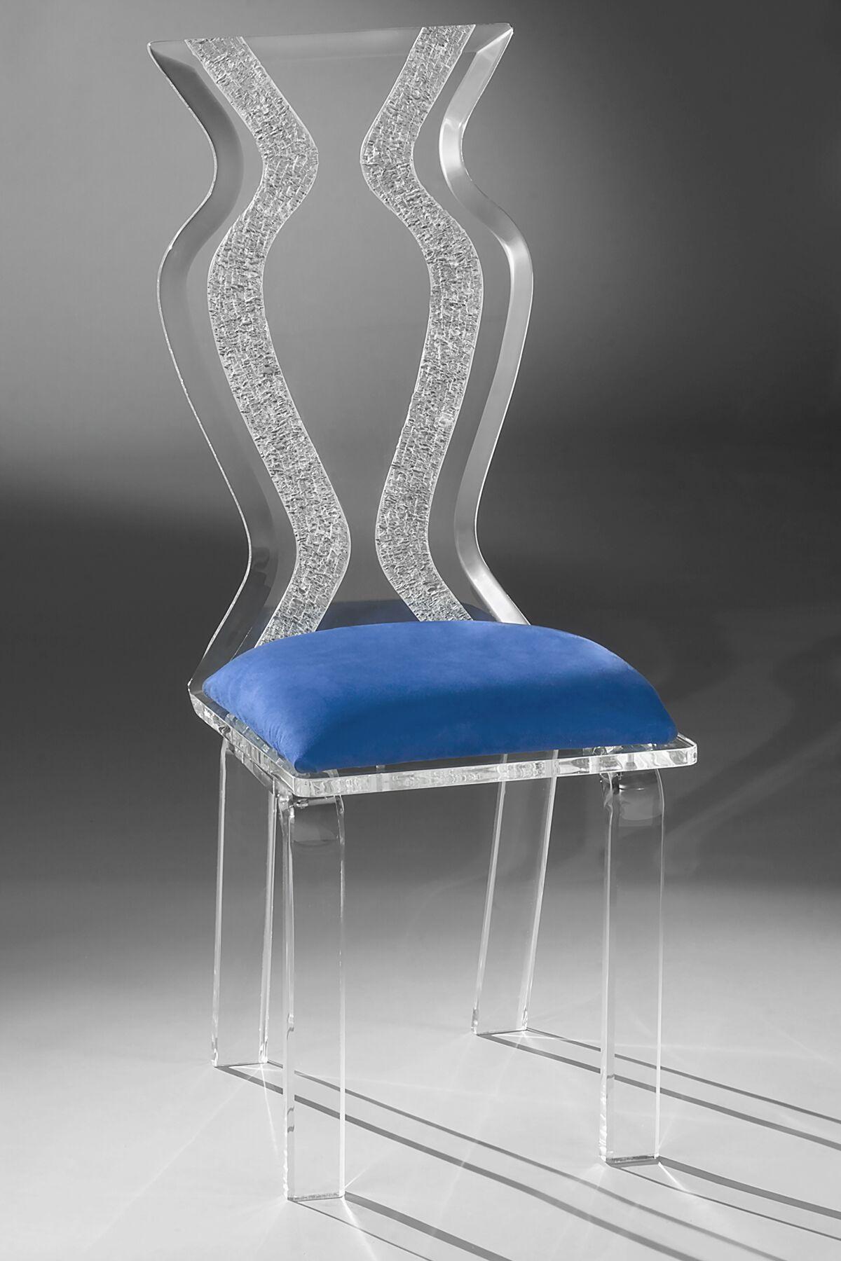 Monaco Acrylic Side Chair Upholstery Color: Cobalt Microfibre