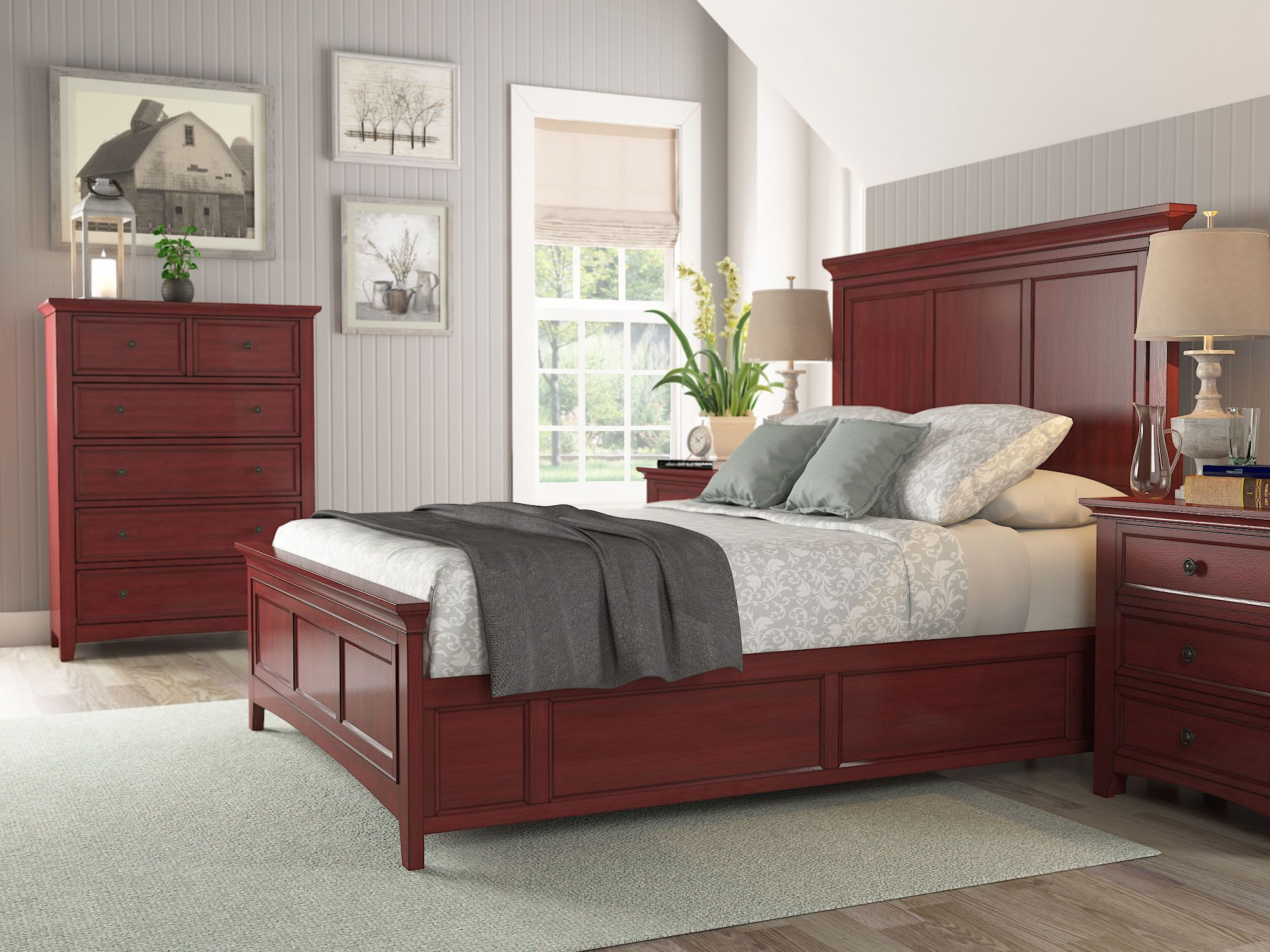 Sefton Platform Bed Color: Berry Red, Size: King