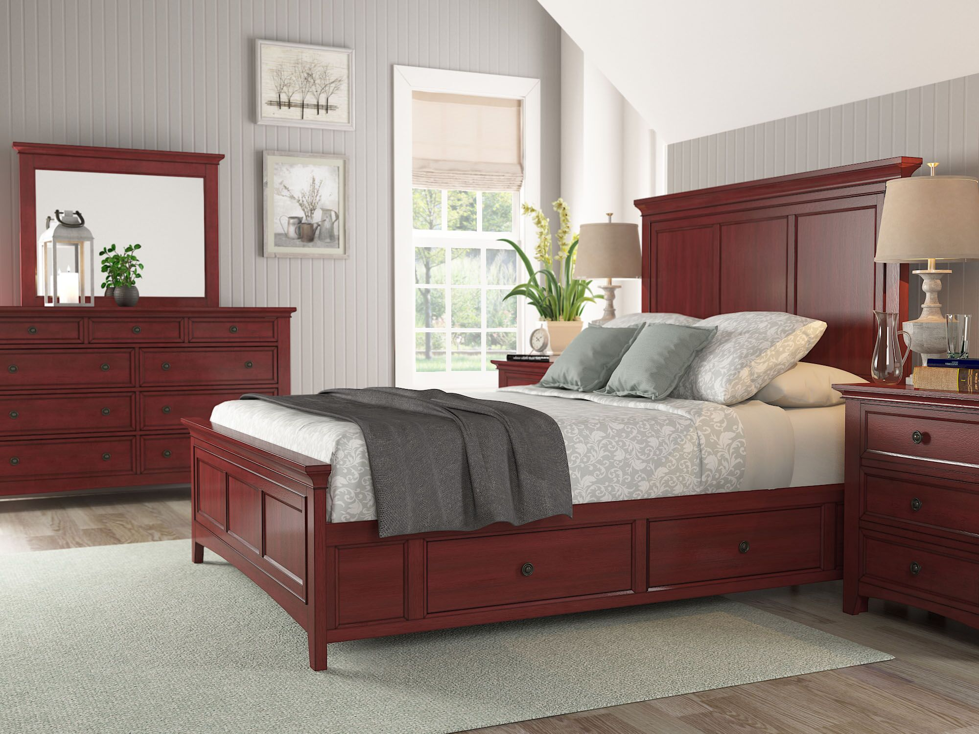 Sefton Storage Platform Bed Color: Berry Red, Size: Queen