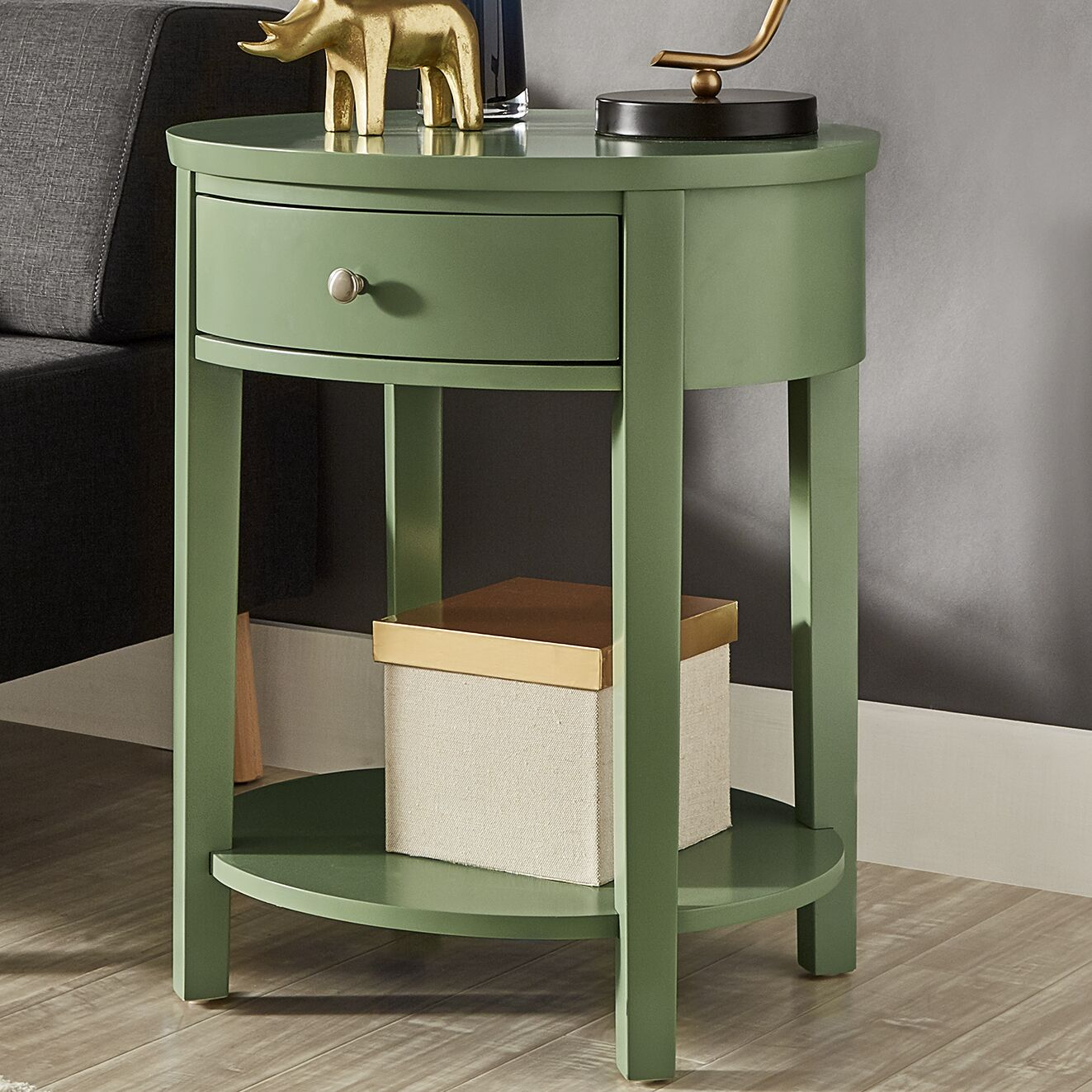 Canterbury End Table with Storage Color: Meadow Green