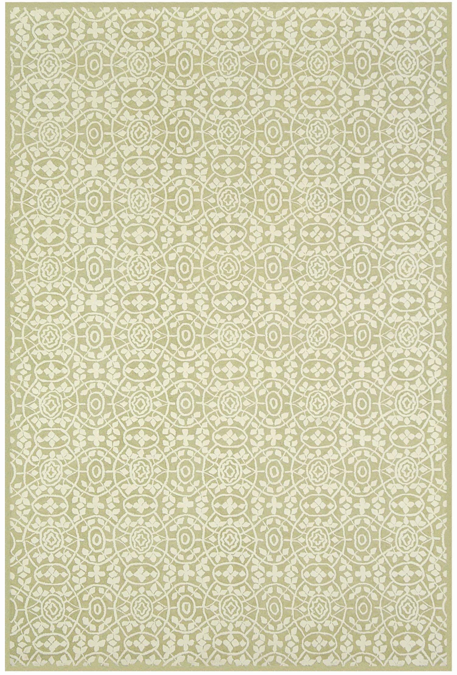 Bloomery Hand-Hooked Cotton Beige Area Rug Rug Size: Rectangle 3'9