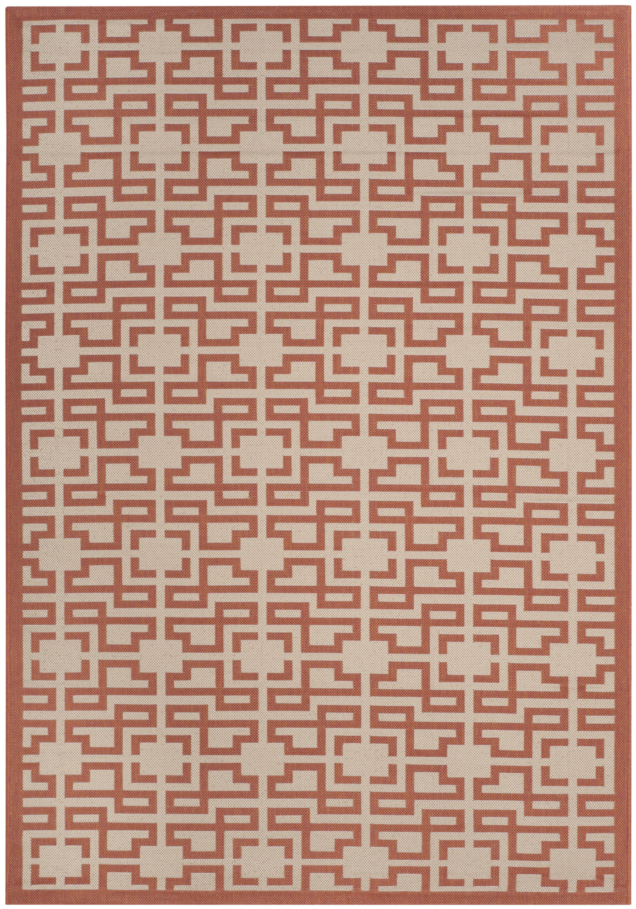 Beige/Terracotta Area Rug Rug Size: Rectangle 6'7
