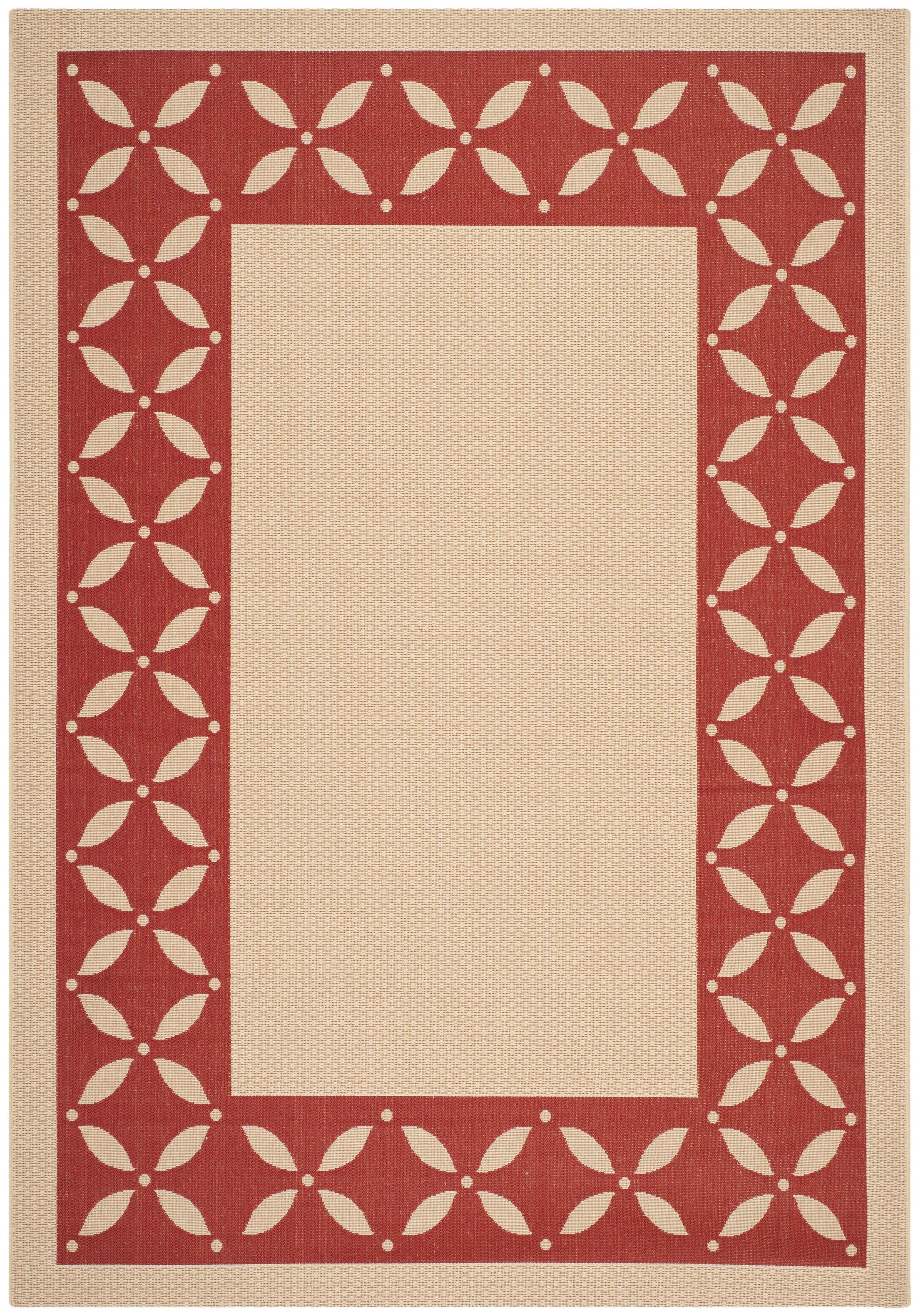 Martha Stewart Mallorca Border Creme/Red Area Rug Rug Size: Rectangle 6'7