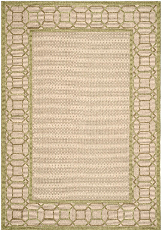 Martha Stewart Facet Border Beige/Beach Grass Area Rug Rug Size: Rectangle 4' x 5'7