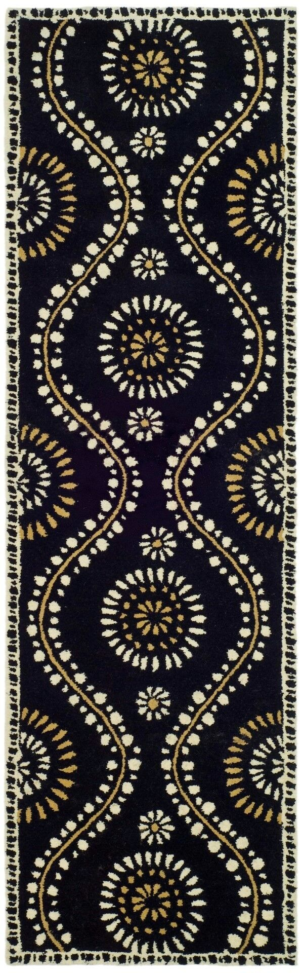 Martha Stewart Tufted / Hand Loomed Black Area Rug Rug Size: Runner 2'3