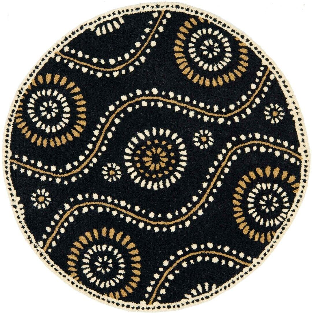 Martha Stewart Tufted / Hand Loomed Black Area Rug Rug Size: Round 8'