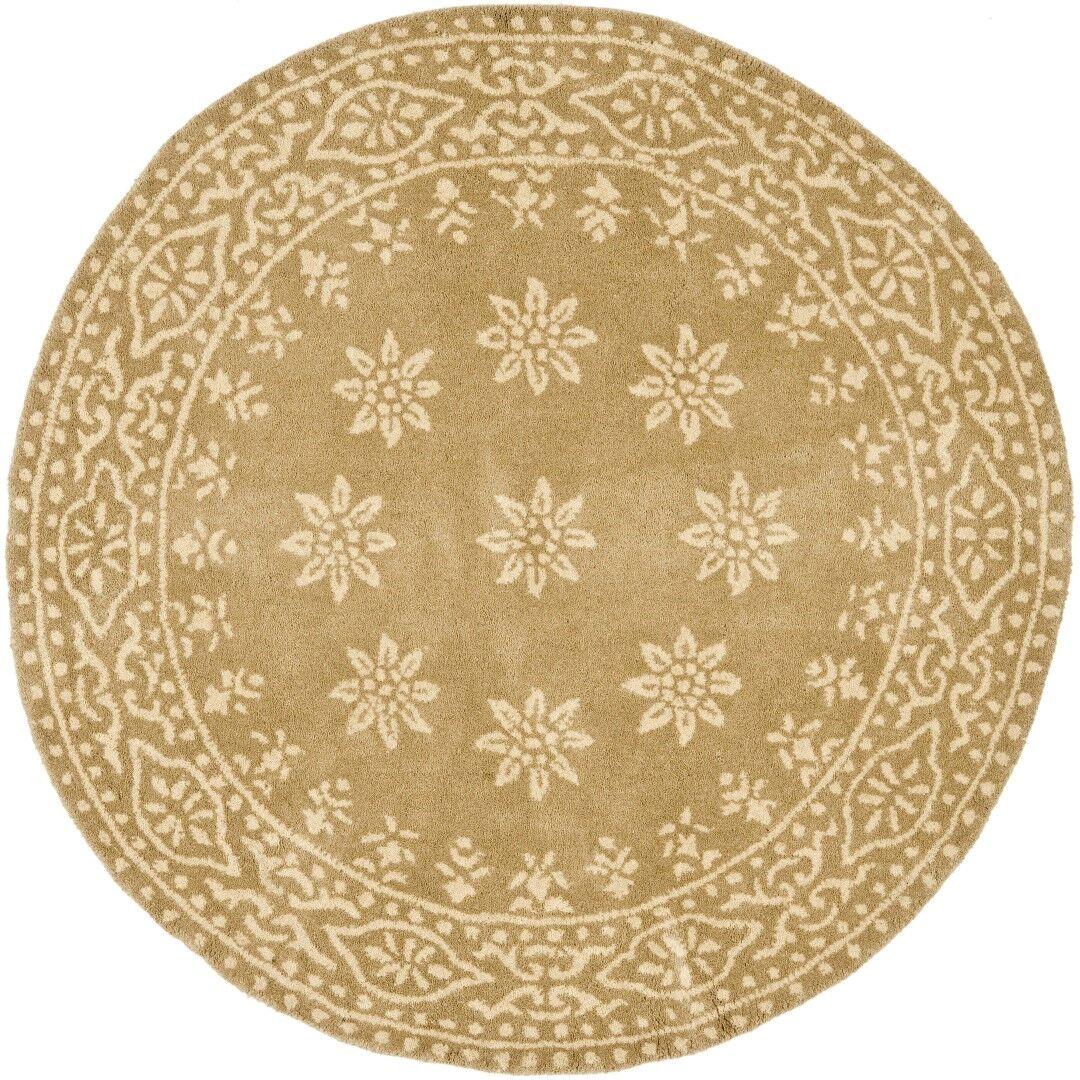 Martha Stewart Gracious Garden Hand Loomed Gold Area Rug Rug Size: Round 4'