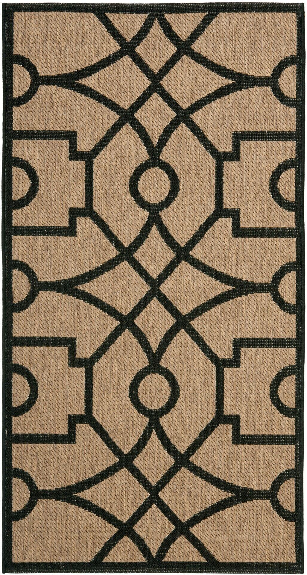 Martha Stewart Fretwork Tan/Black Area Rug Rug Size: Rectangle 6'7