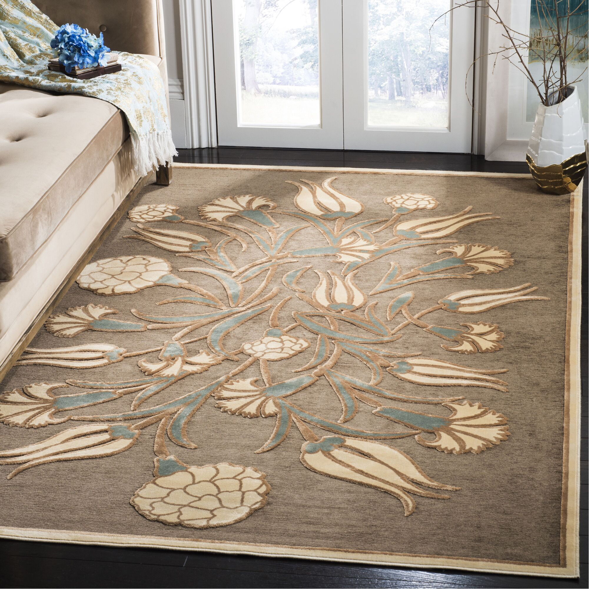Floral Arabesque Hand-Loomed Brown Area Rug Rug Size: Rectangle 5'3