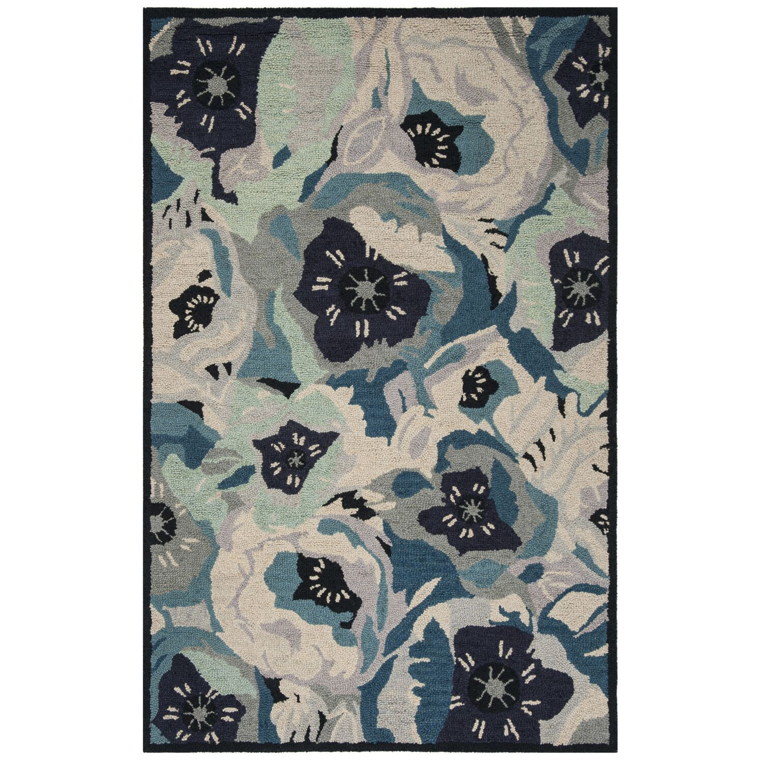 Hand-Tufted Blue Area Rug Rug Size: Rectangle 3' x 5'