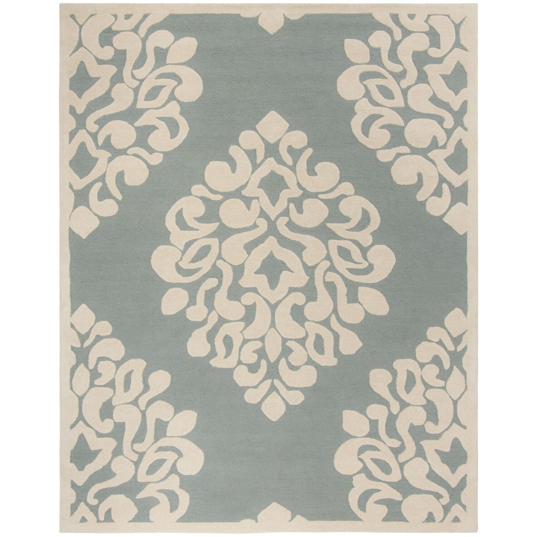 Floret Hand-Loomed Green/Beige Area Rug Rug Size: Rectangle 5' x 8'