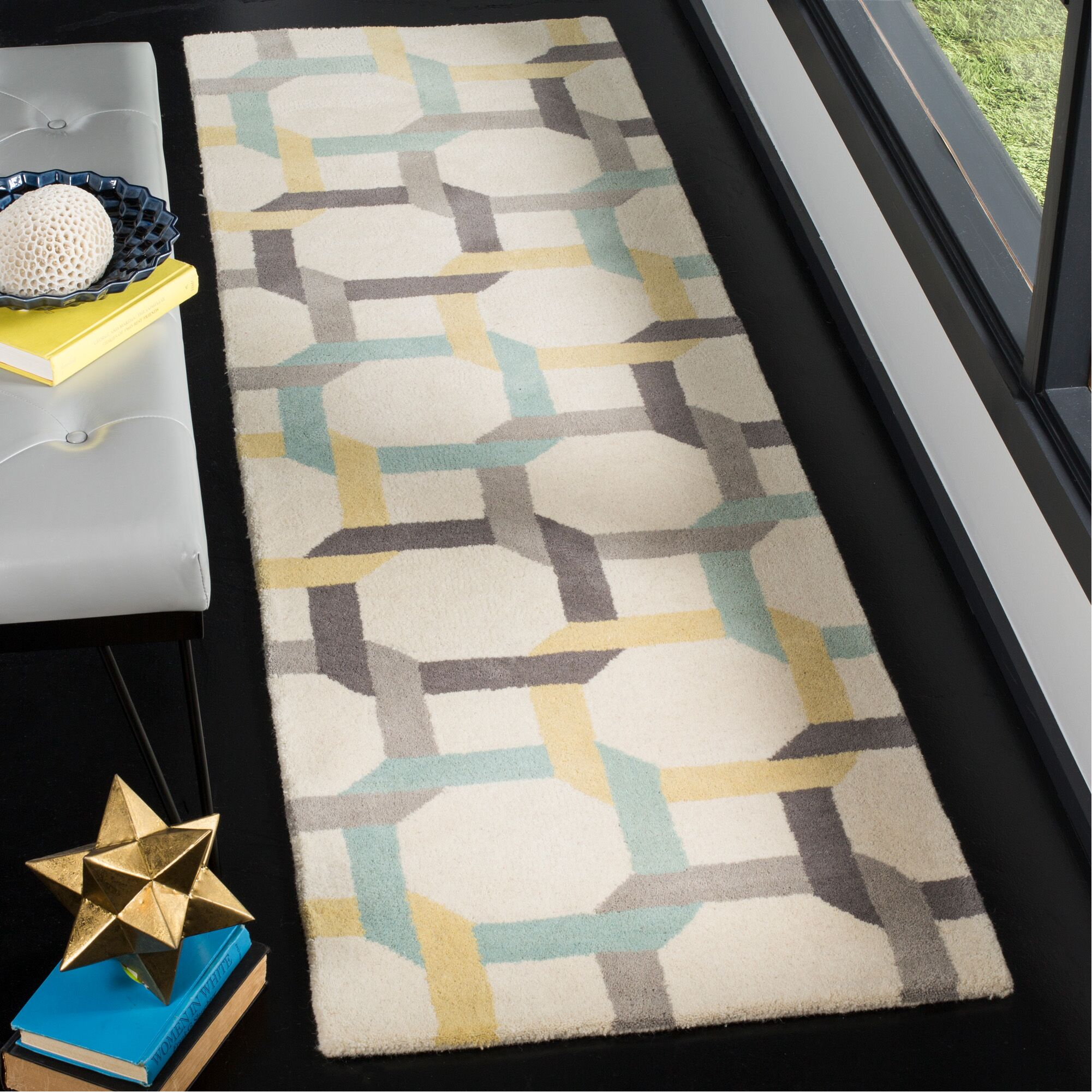 Tufted-Hand-Loomed Blue/Green/Yellow Area Rug Rug Size: Runner 2'3