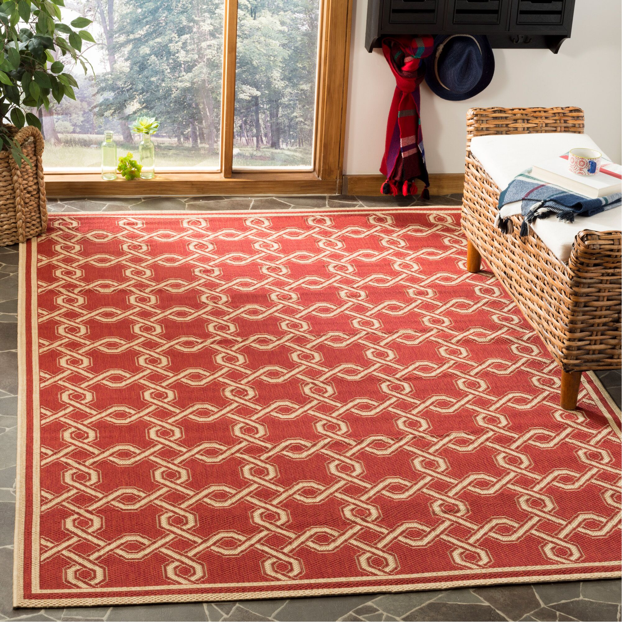 Martha Stewart Red/Creme Area Rug Rug Size: Rectangle 5'3
